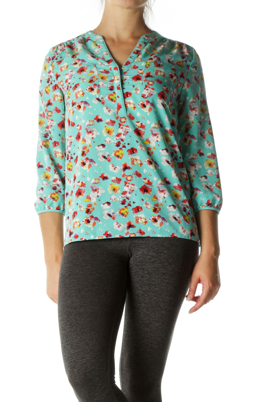 Multicolored V-Neck Print Pockets Shirt Front