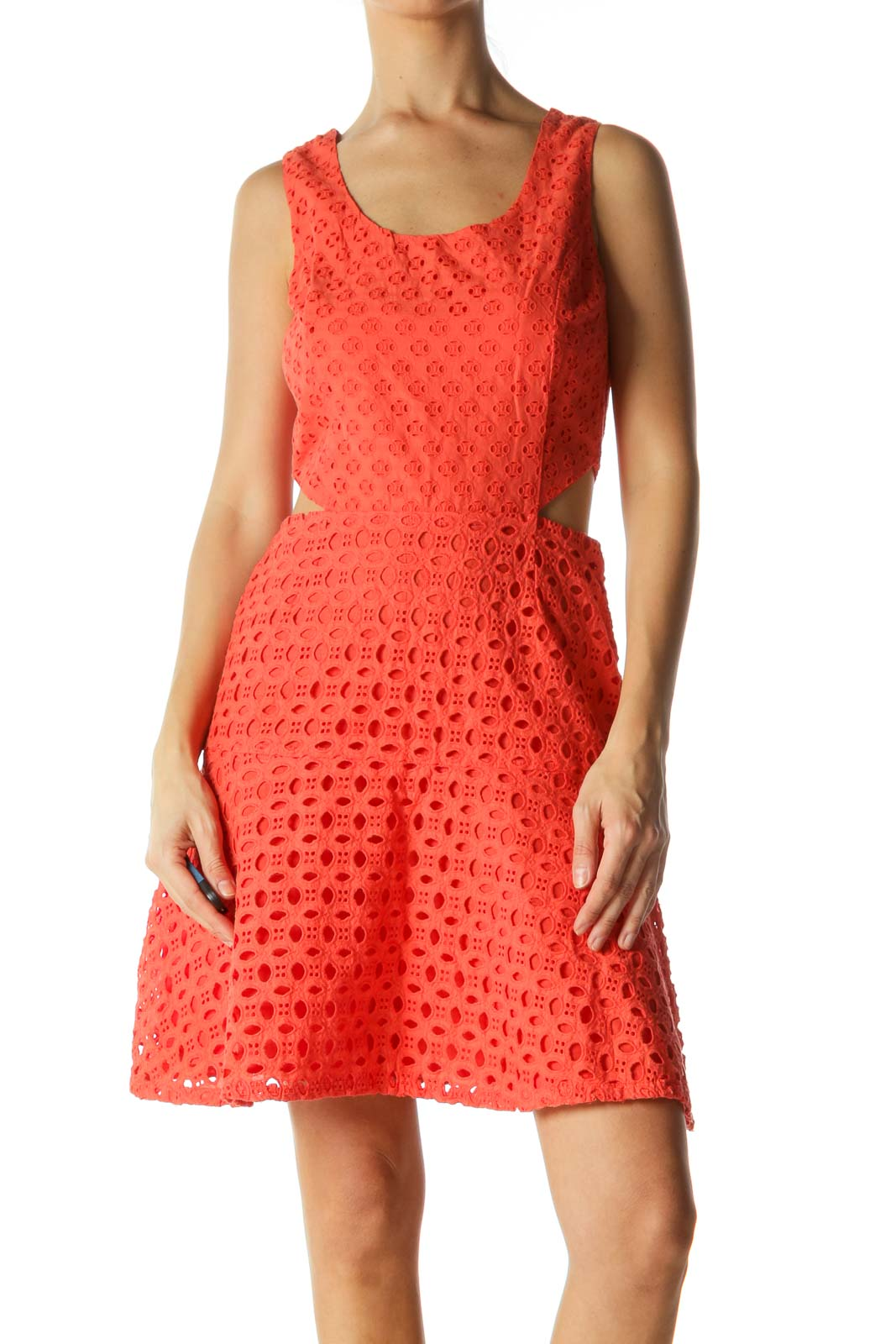 Orange Crocheted Open Waist A-Line Dress Front