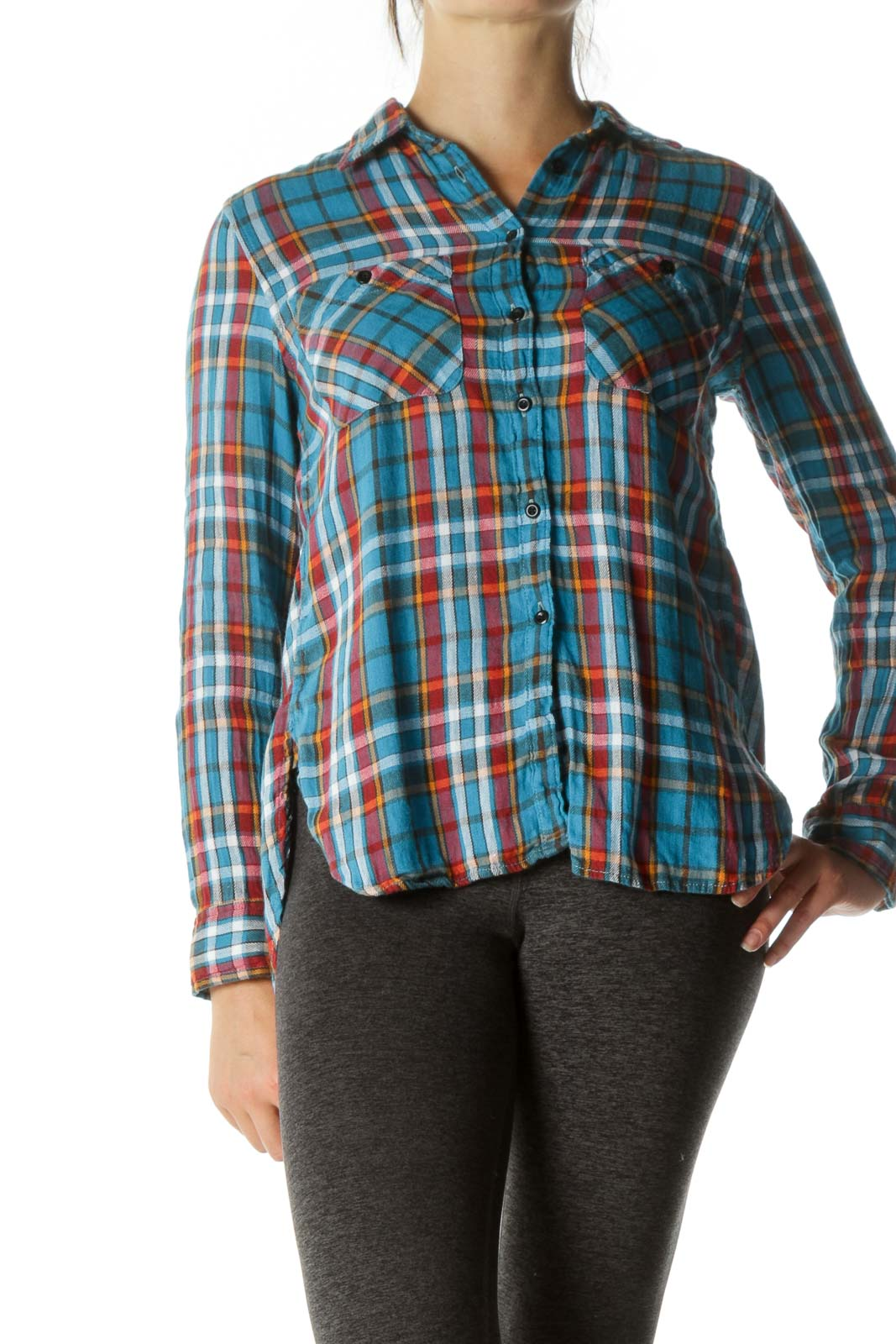 Multicolored Linen Cotton Blend Plaid Pocketed Shirt Front
