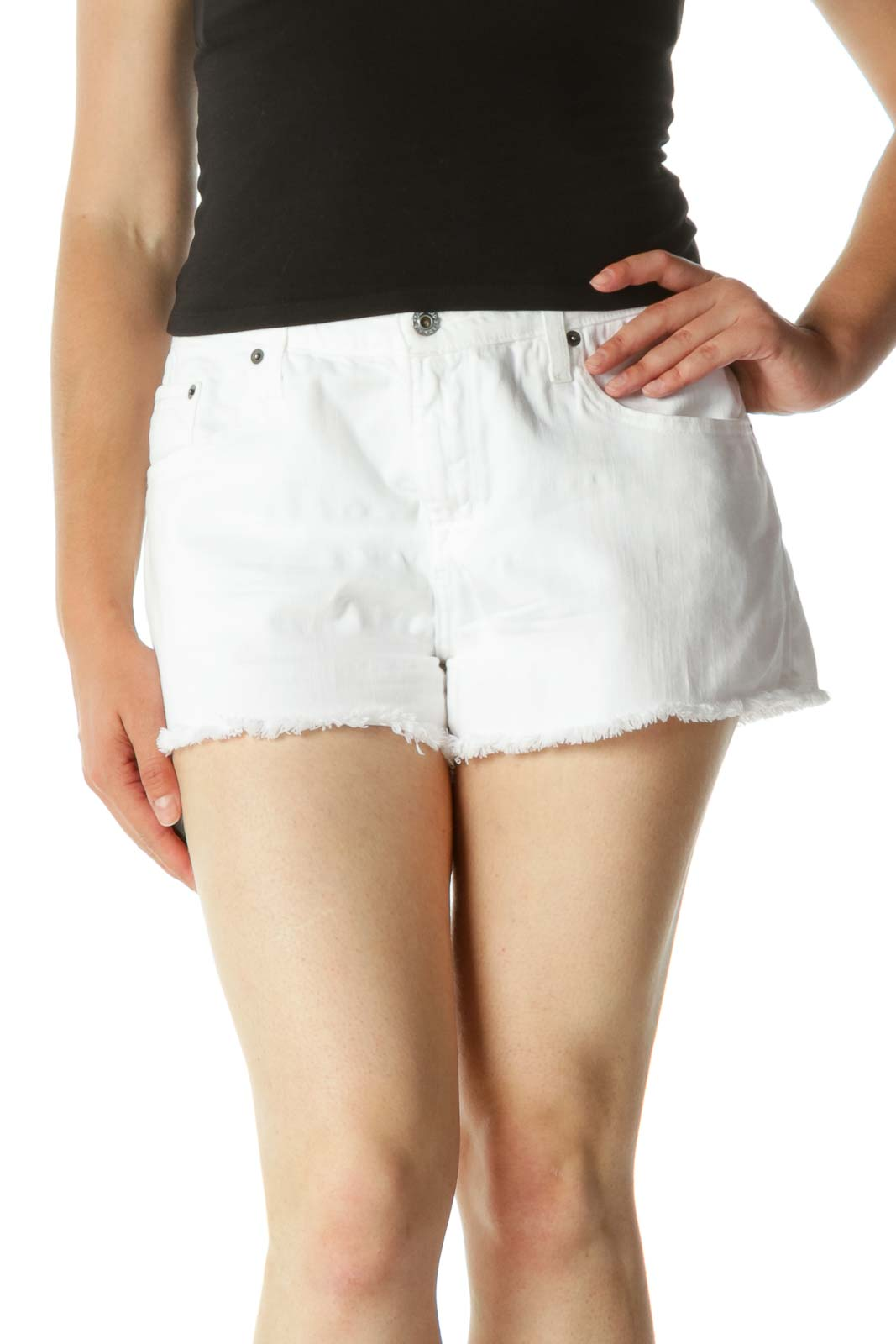 White Raw Hem Cotton Denim Shorts Front