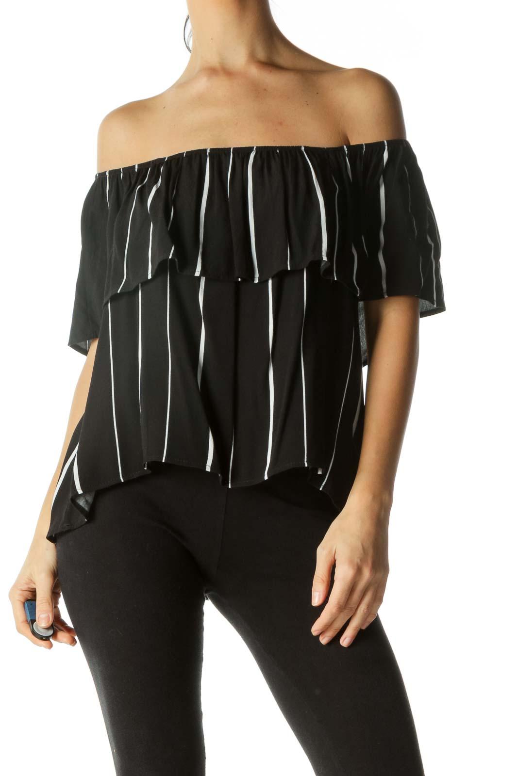 Black White Striped Off-Shoulder Flared Top Front