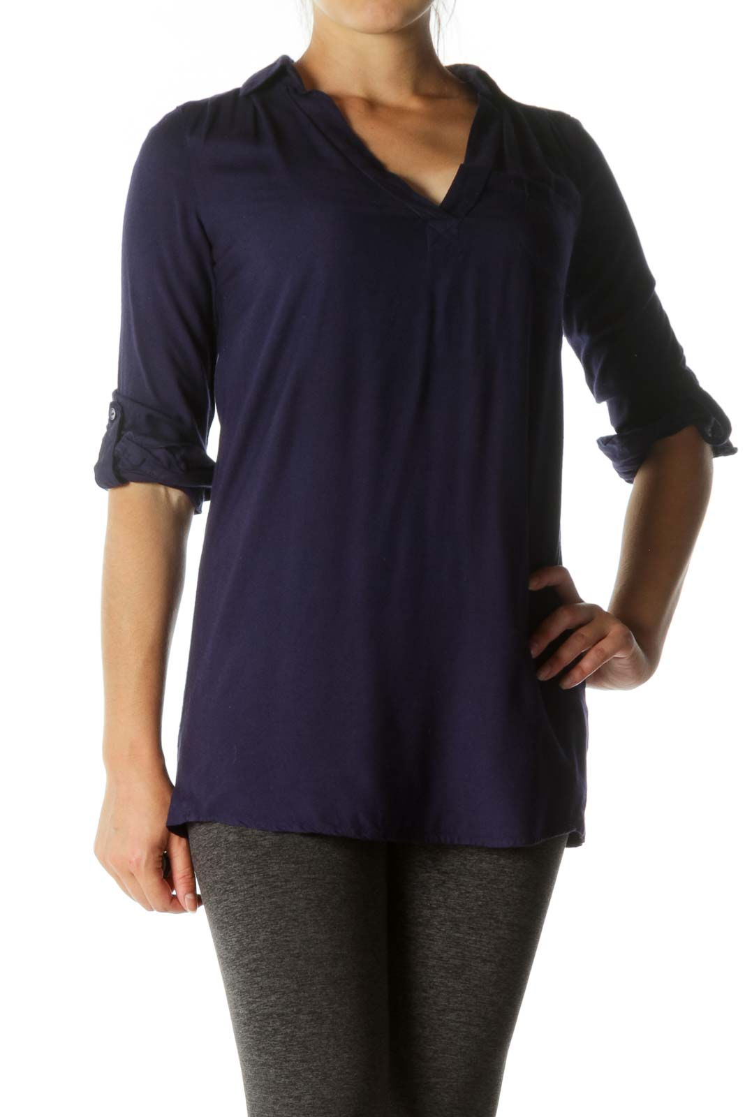 Deep Blue V-Neck Long Sleeve Long Soft Shirt Front