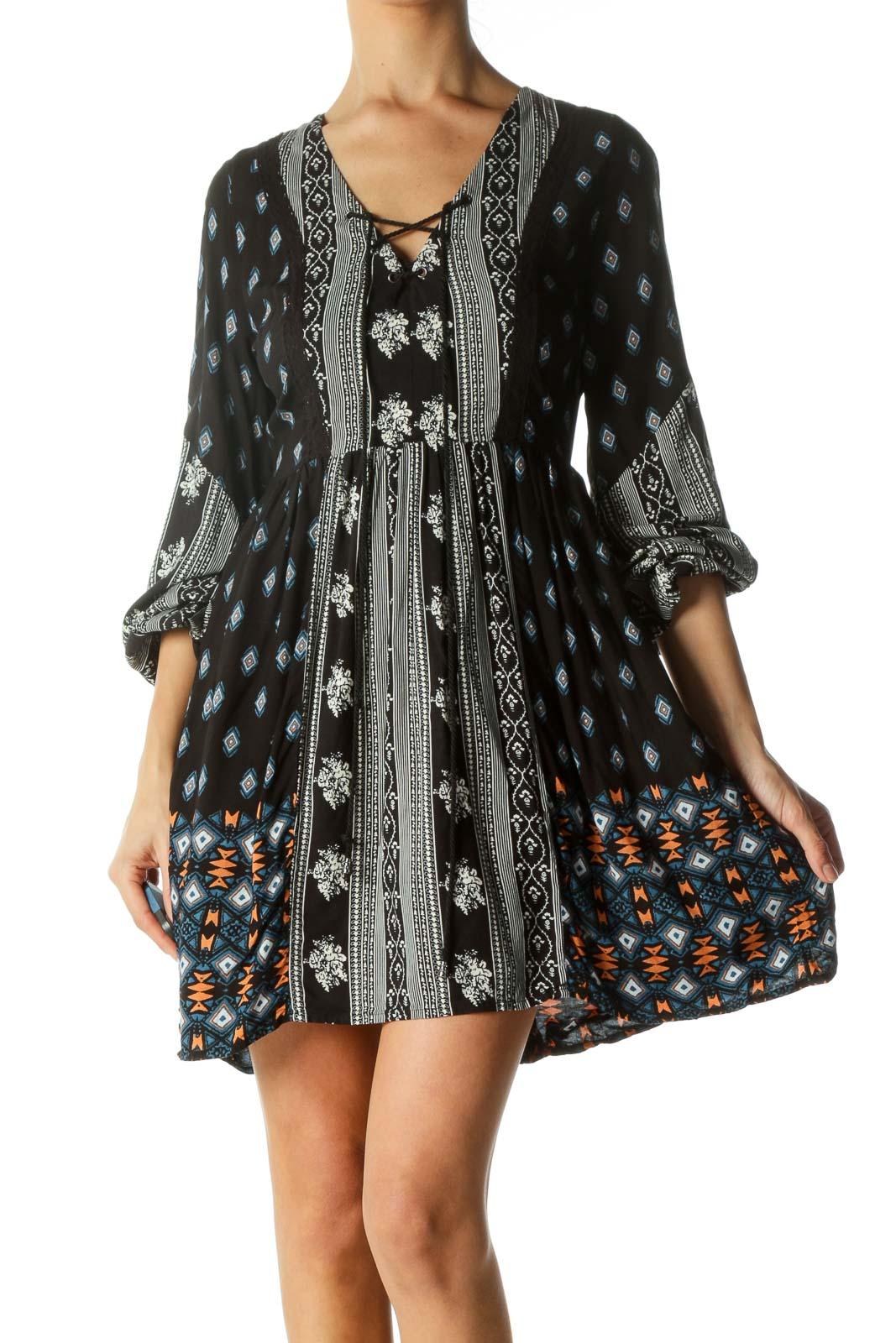 Black Printed Drawstring Day Dress Front