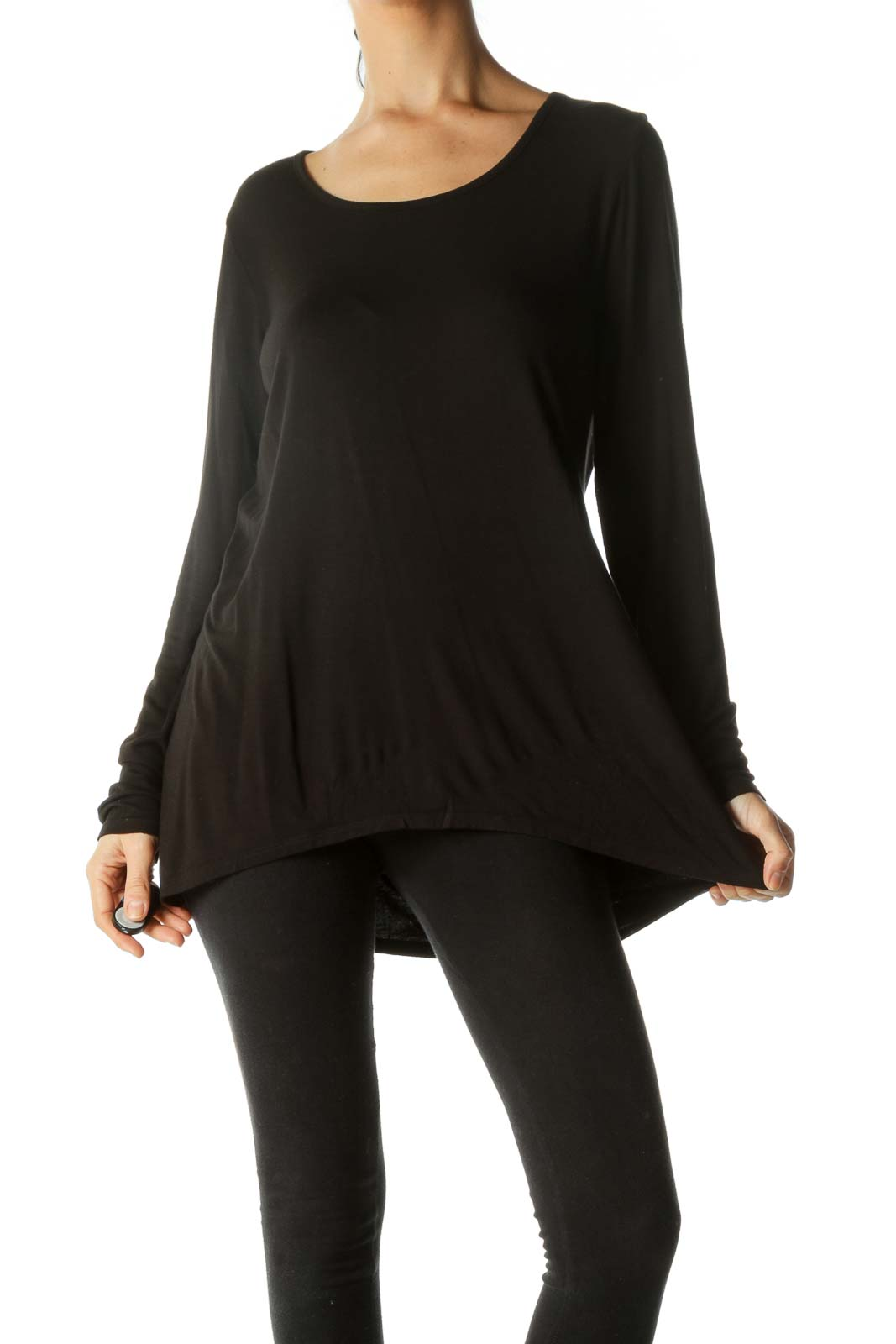 Black Relaxed Long Sleeve Top Front