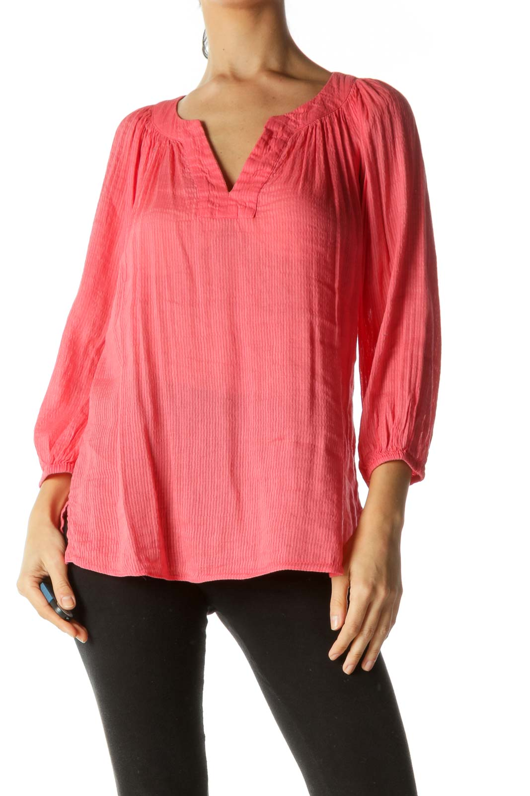 Coral Pink V-Neck Linen Blend Tunic Top Front