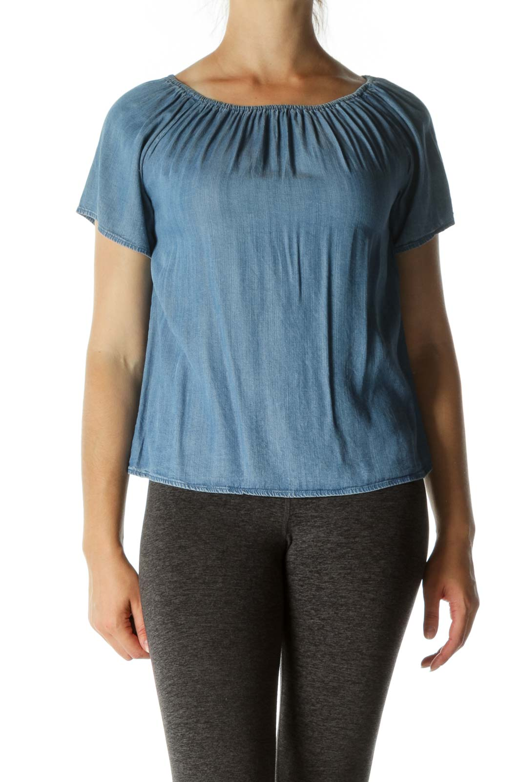 Blue Medium Wash Cold Shoulder Short Sleeve Top Front