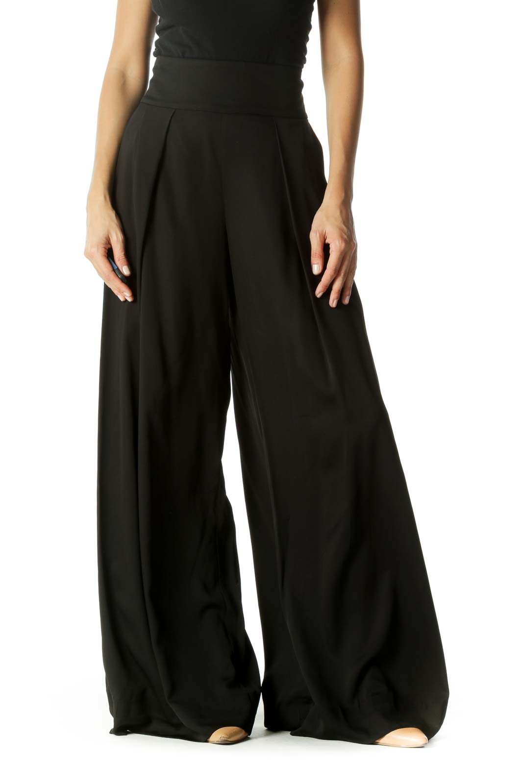Black Cinched Waist Pleated Wide-Leg Draped Pants Front