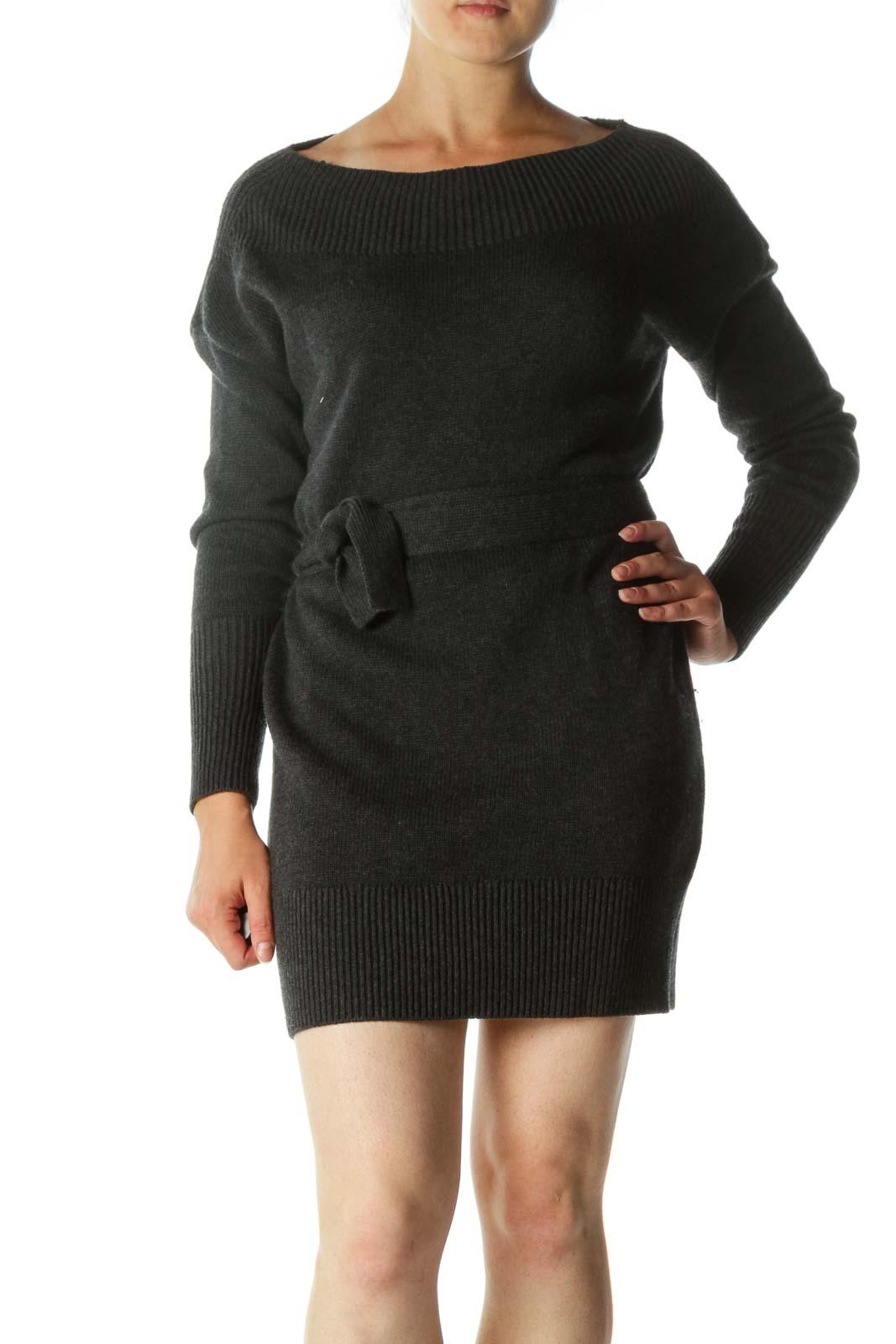 Gray Wool Blend Tie Waist Off-Shoulder Fit Dress Front