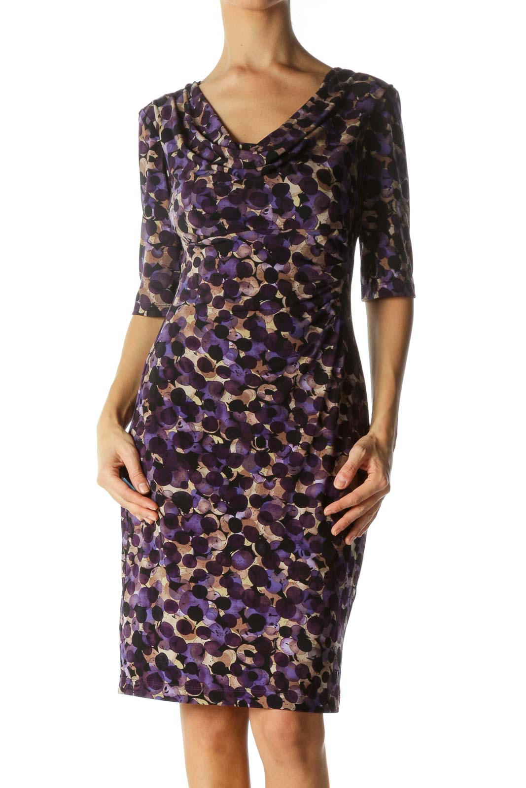 Purple Patterned Ruched Neck Dress Front