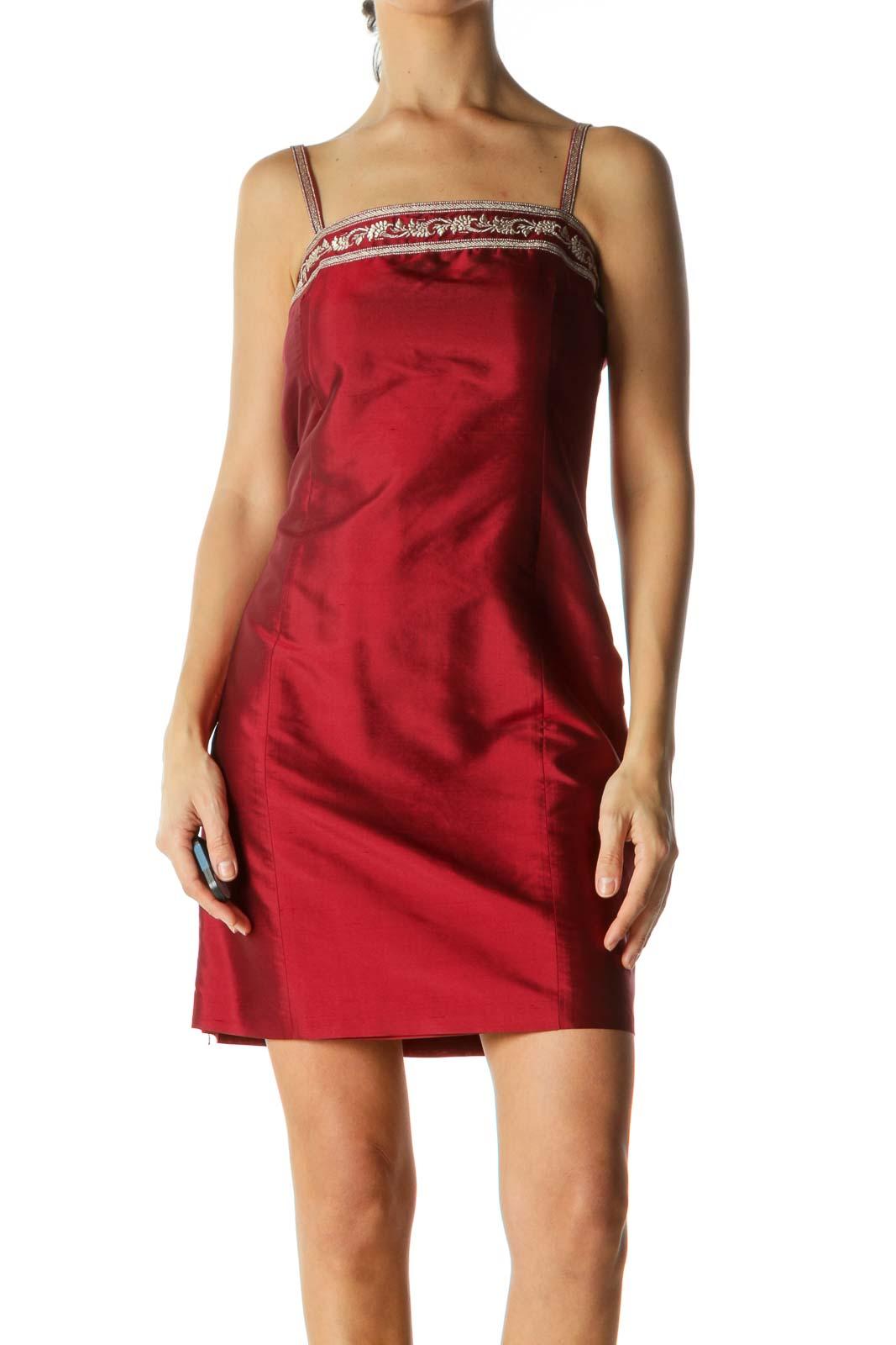 Red Silk Metallic Detail Slim Mini Dress Front