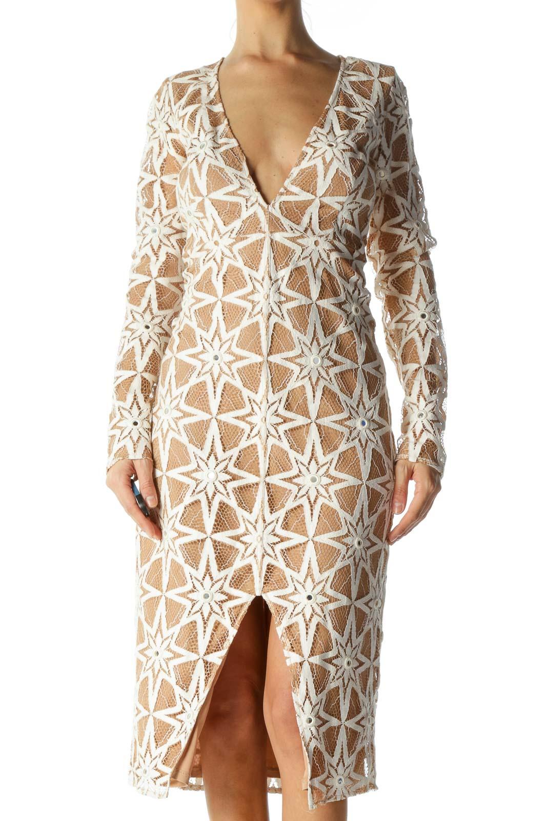 Cream Star & Sequin Crocheted Deep-V-Neck Fit Dress Front
