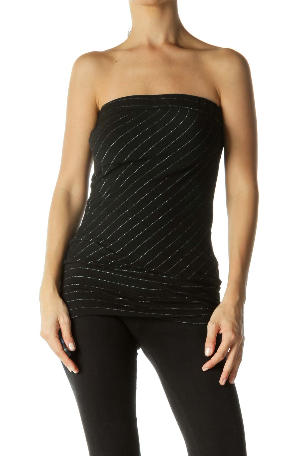 Black Silver Asymmetrical Stripes Elastic Band Strapless Top Front