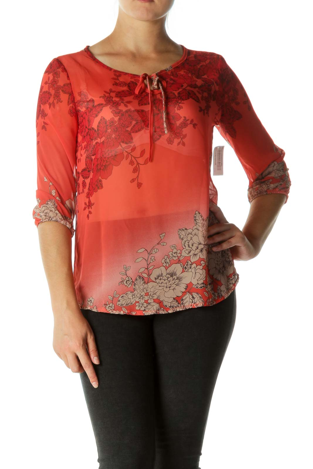 Red Keyhole See-Through Blouse Front
