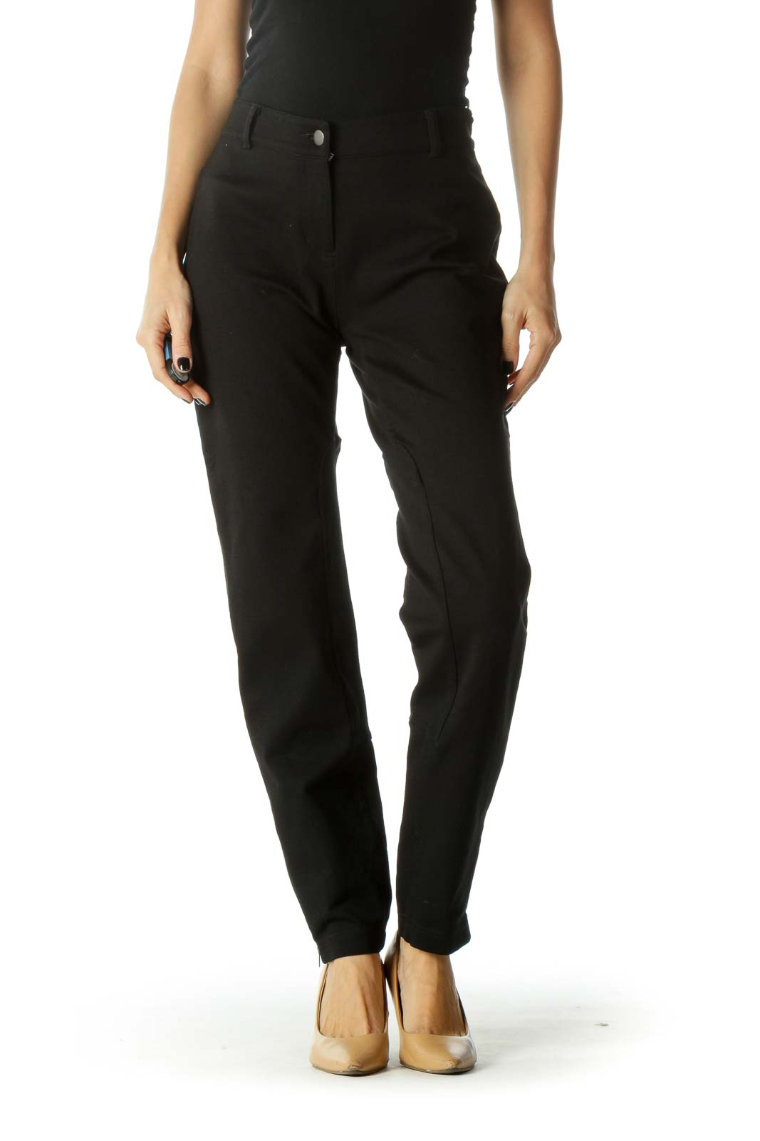 Black Zippered Leg Pocketed Tapered Pants Front