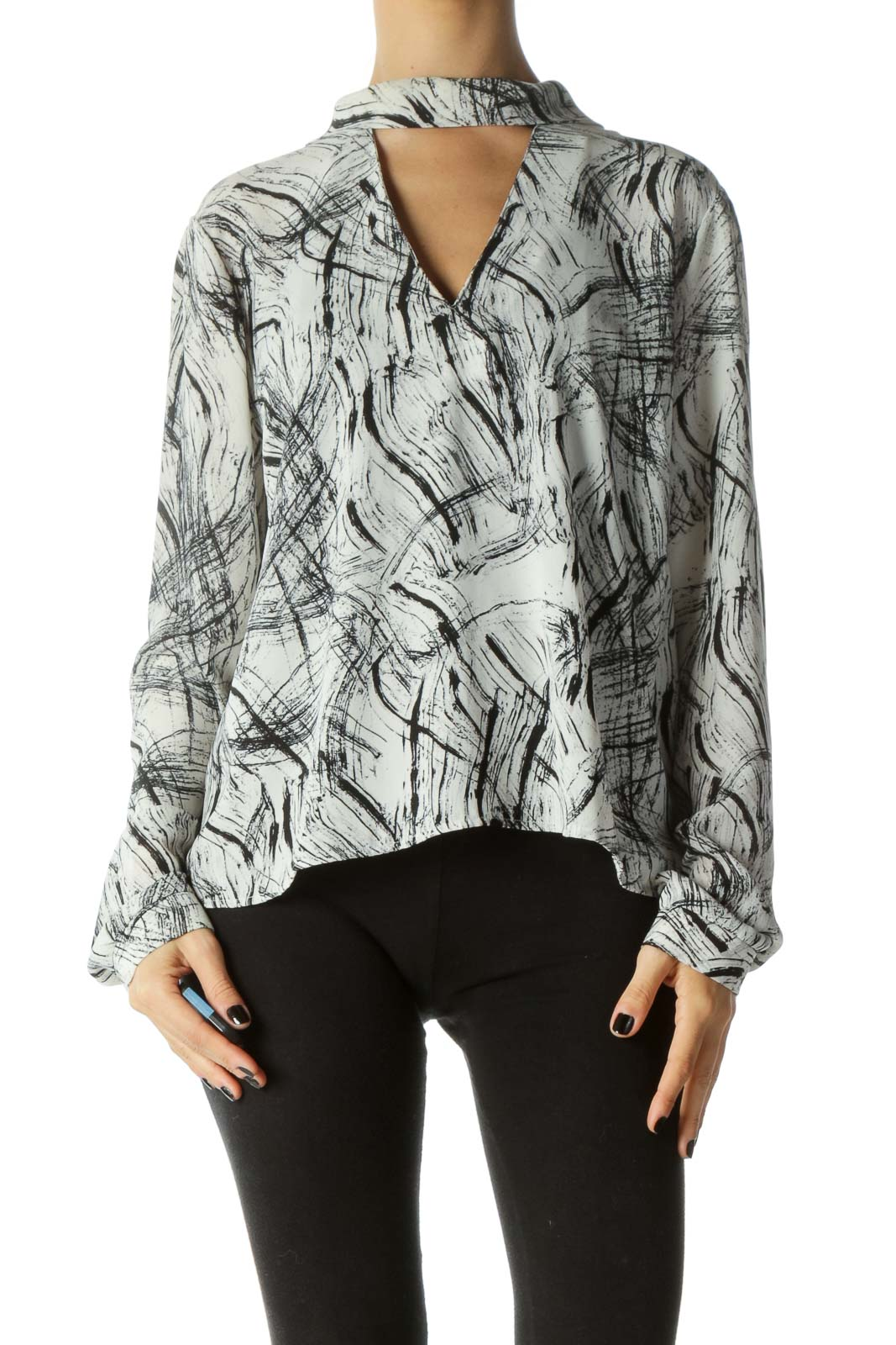Black & White Zippered Keyhole Long Sleeve Blouse Front