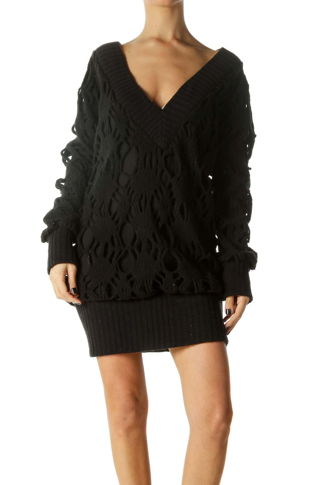 Black V-Neck Long Sleeve Knit Dress Front