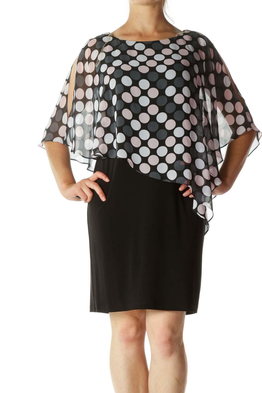 Black And Pink Polka Dots Cape Shirt Dress Front