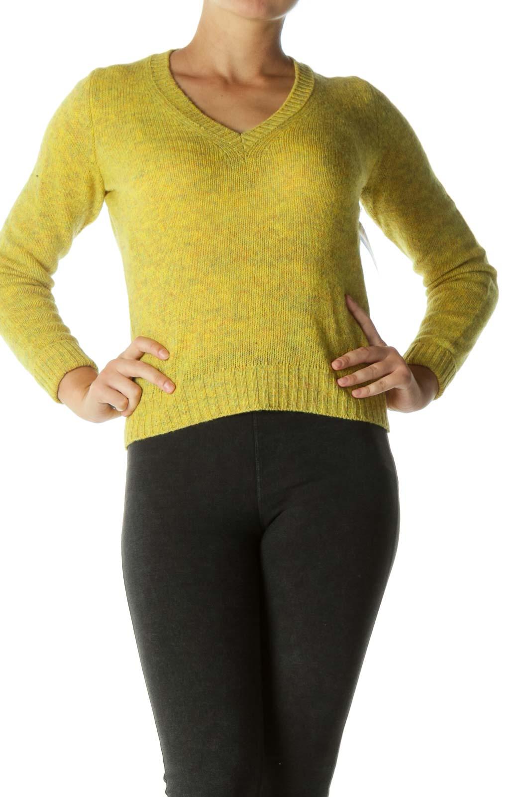 Mustard Blend Wool V-neck Sweater  Front