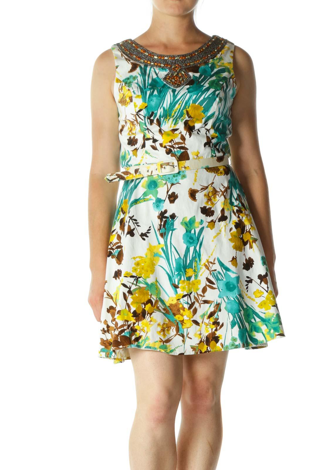 White Green Embellished & Floral Belt Midi Dress Front