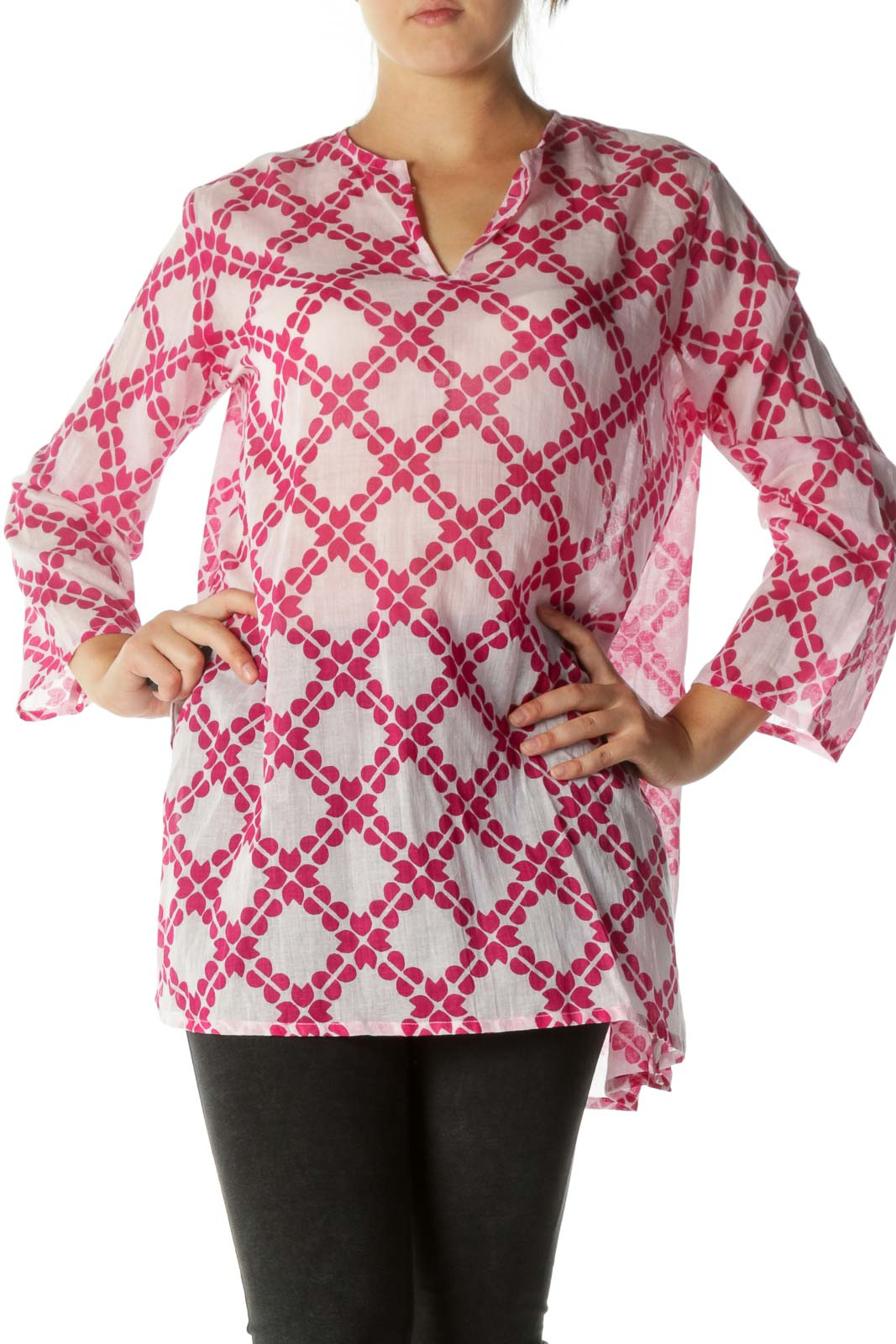 Pink Patterned Lightweight Blouse  Front