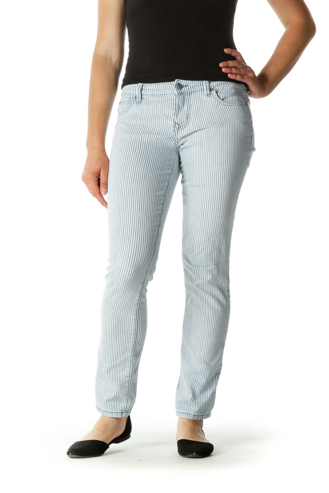 Blue White Striped Stretch Tapered Pants Front