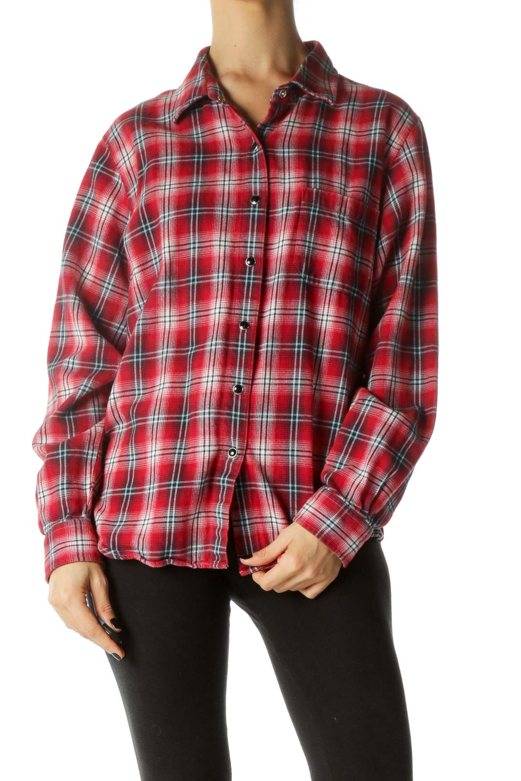 Red Snap Button Chest Pocketed Shirt Front