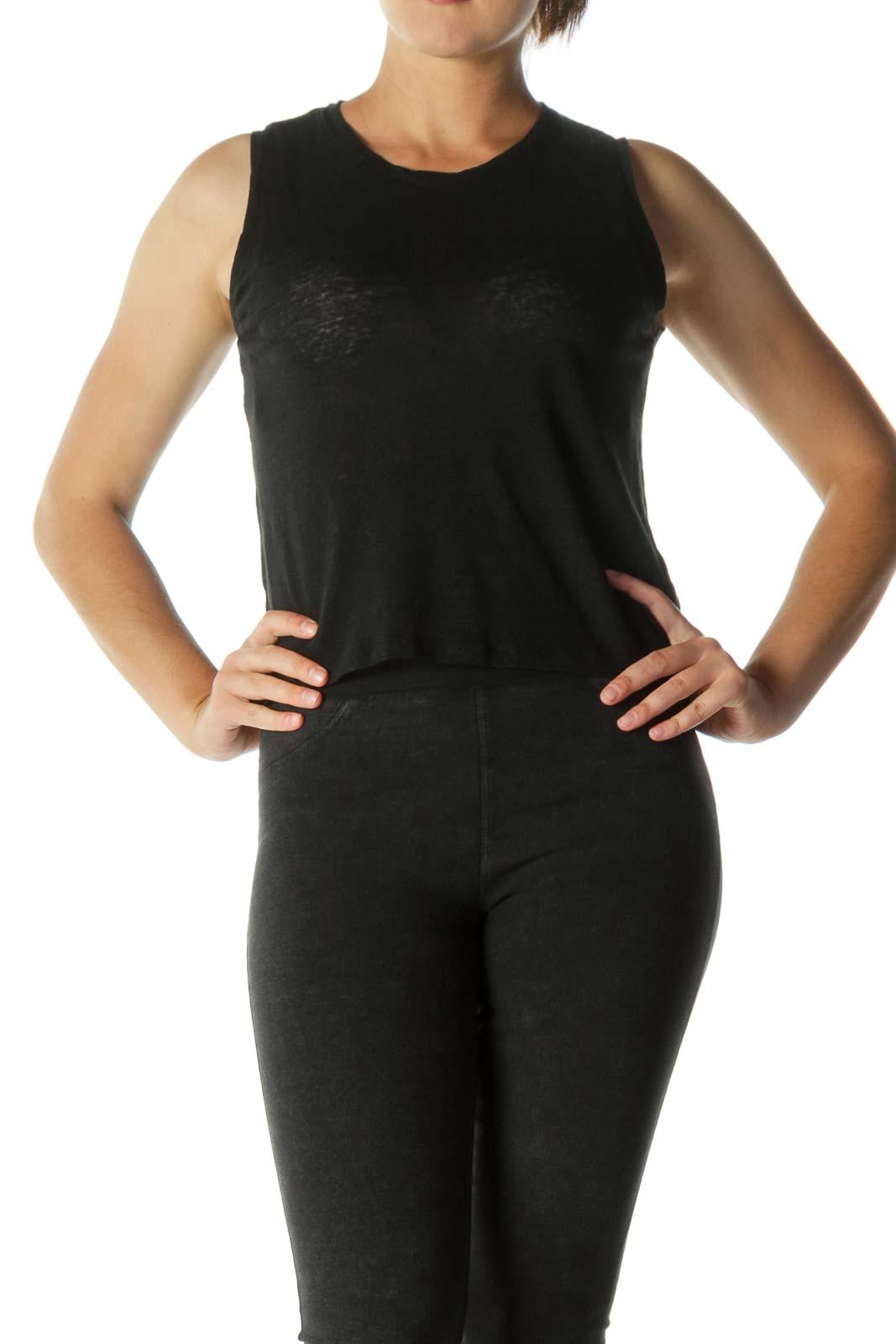Black Round Neck T-shirt Front