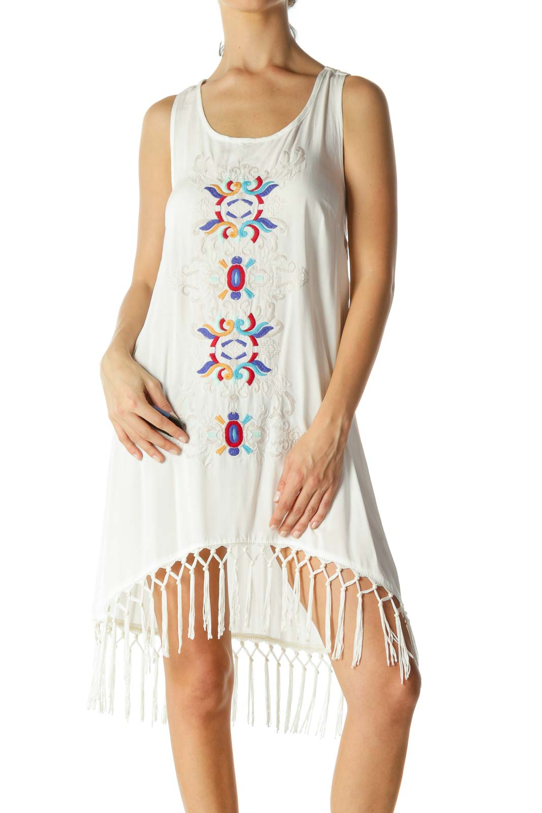 White Color Embroidered & Tassel Dress Front