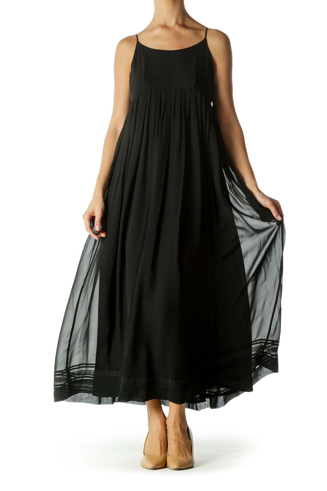 Black Silk Blend Pleated Lower Lace Trim Detail Dress Front
