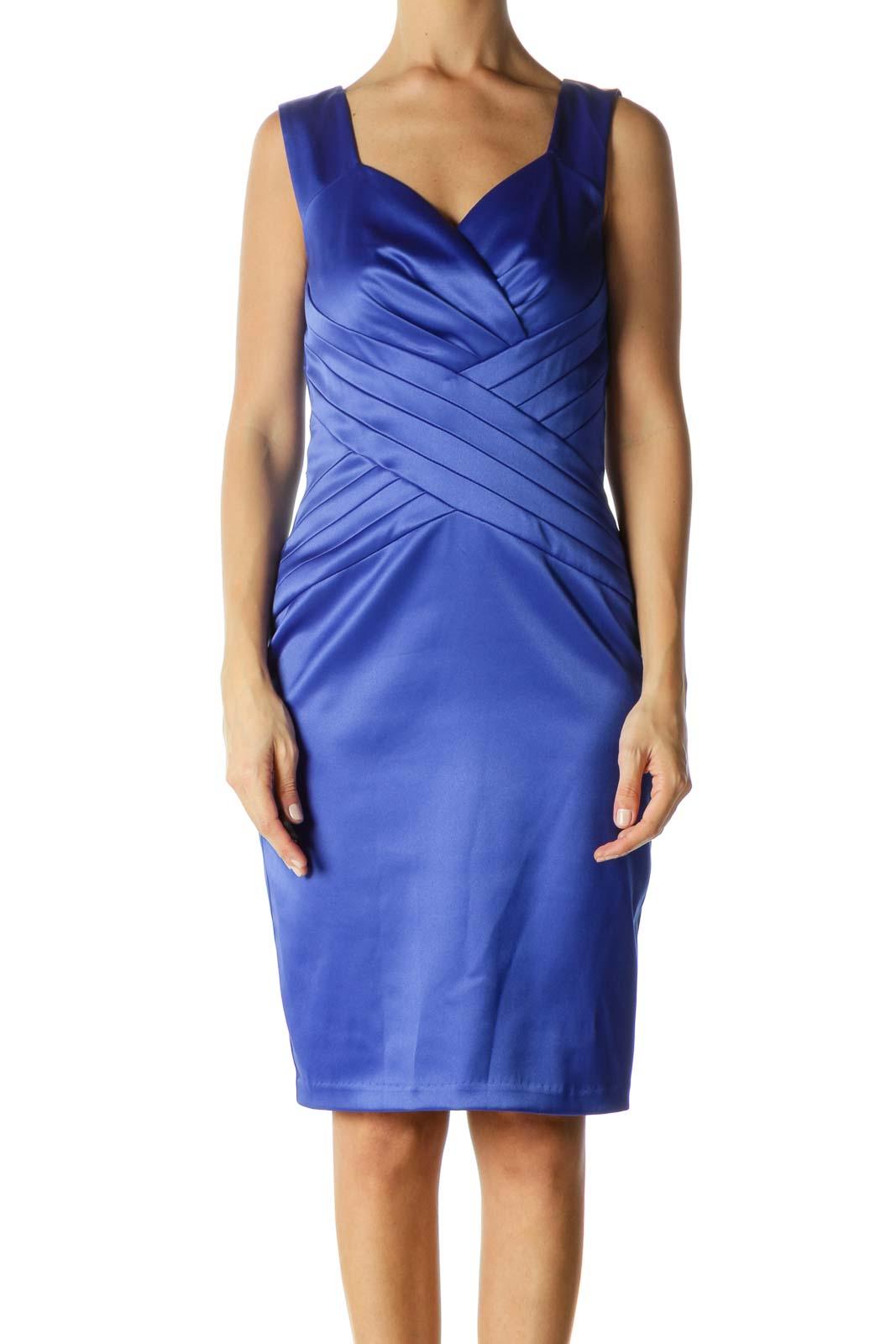 Blue Shiny Shift Dress Front