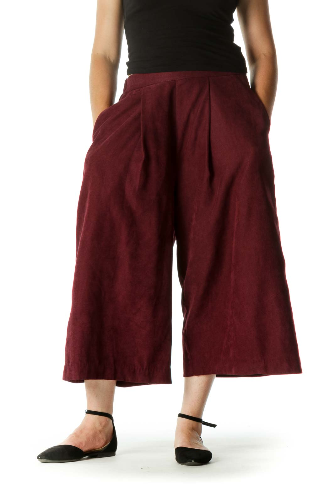 Burgundy Pocketed Textured Super High-Waist Culottes Pants Front