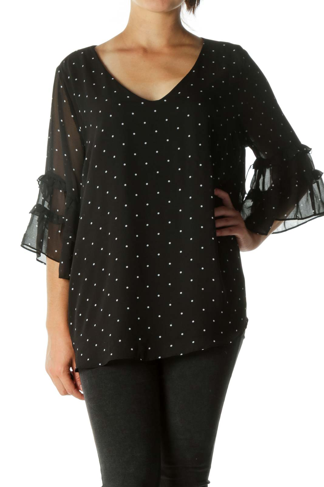Black Ruffled See-Through Blouse Front