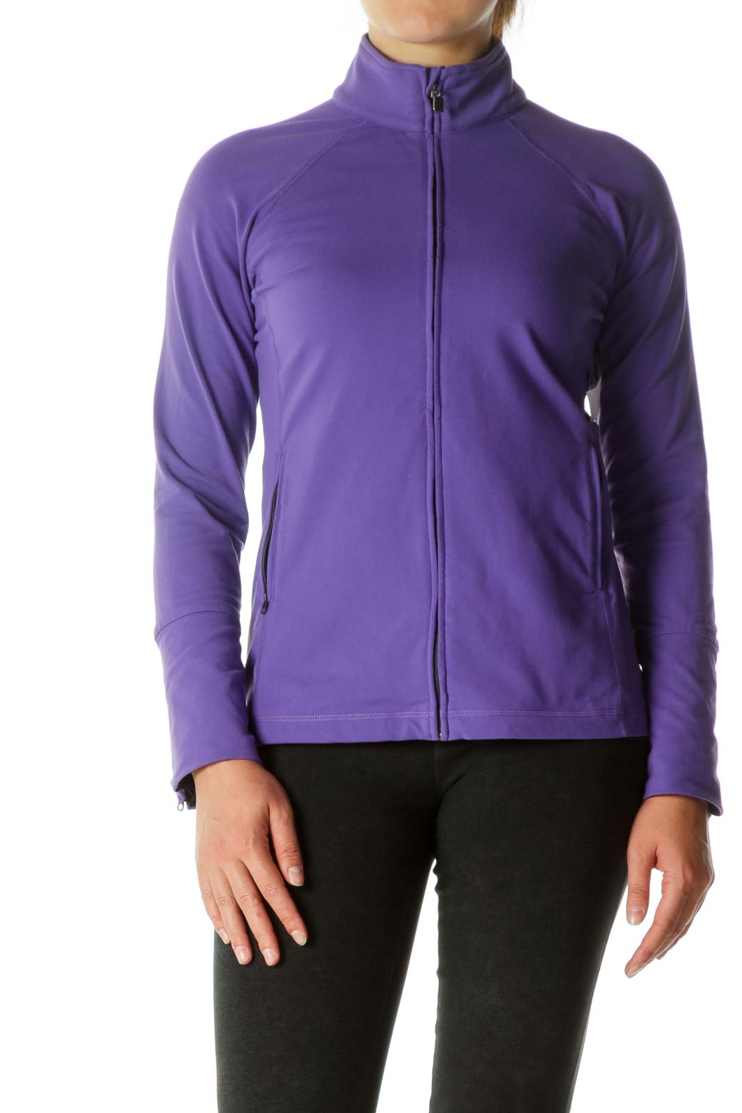 Purple Zippered Pocketed Sports Jacket Front