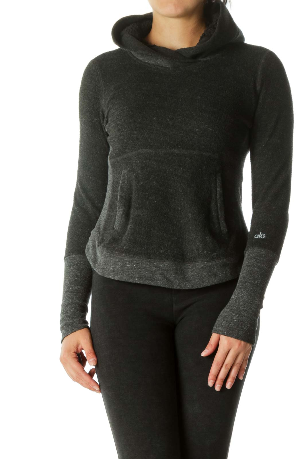 Gray Fleece Hooded Sports Jacket Front