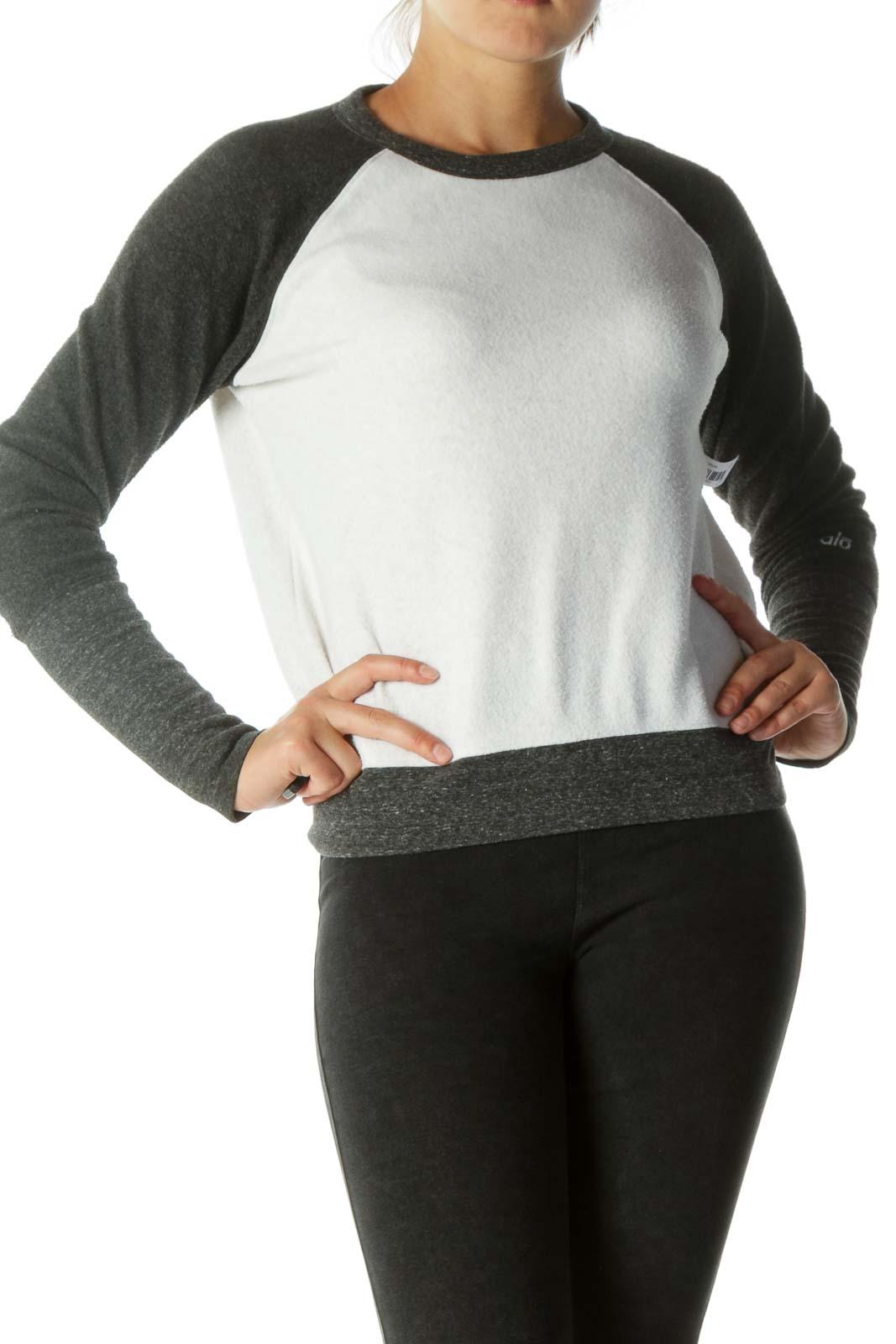 White Gray Soft Textured Pullover Sweatshirt Front