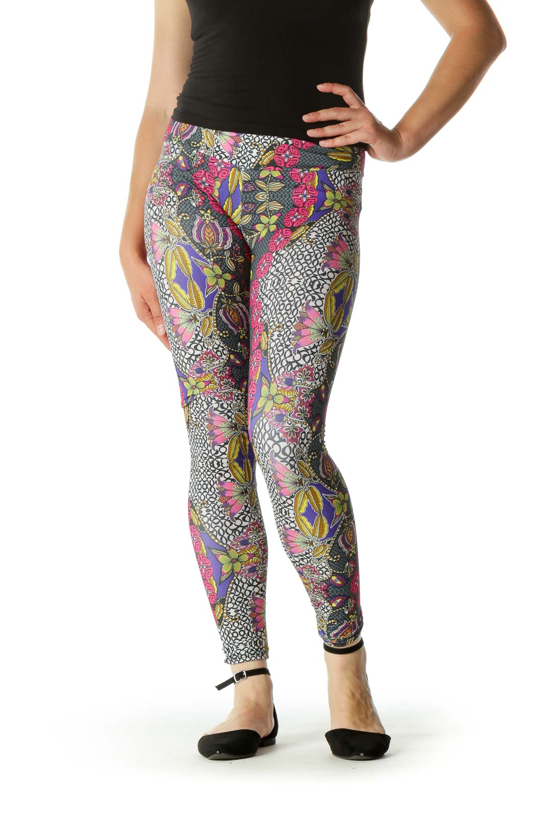 Multicolored Floral Print Stretch Active Pants Front