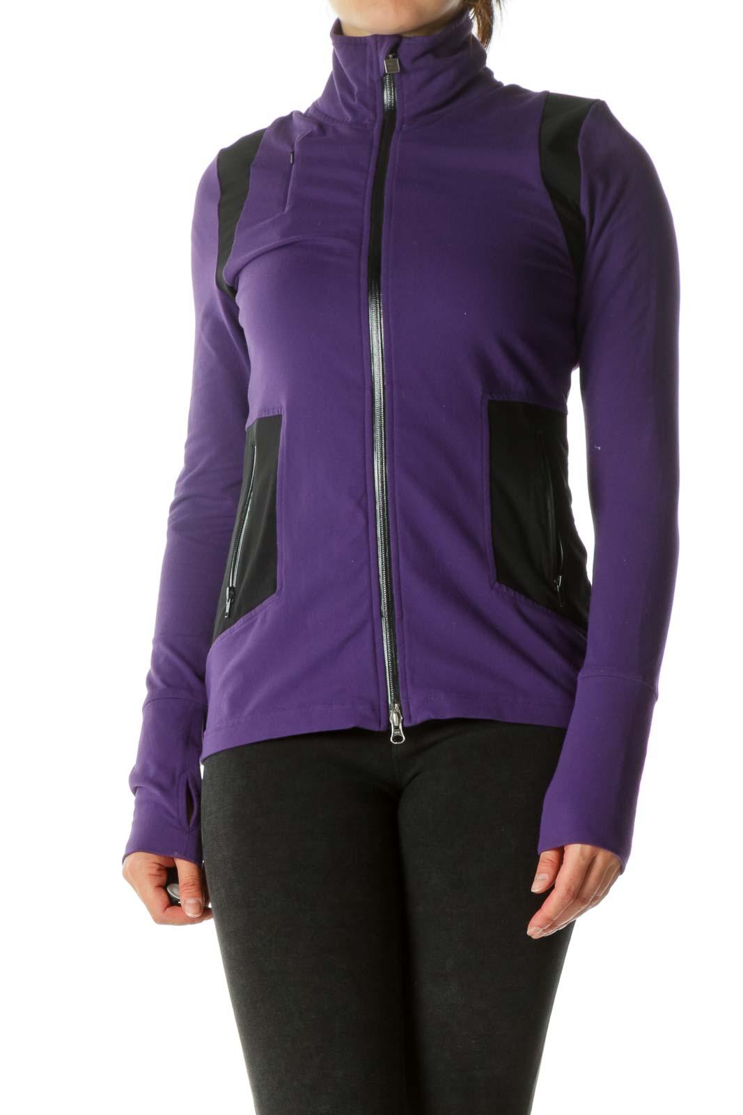 Purple & black Thumb-Holed Double Zippered Sports Jackets Front