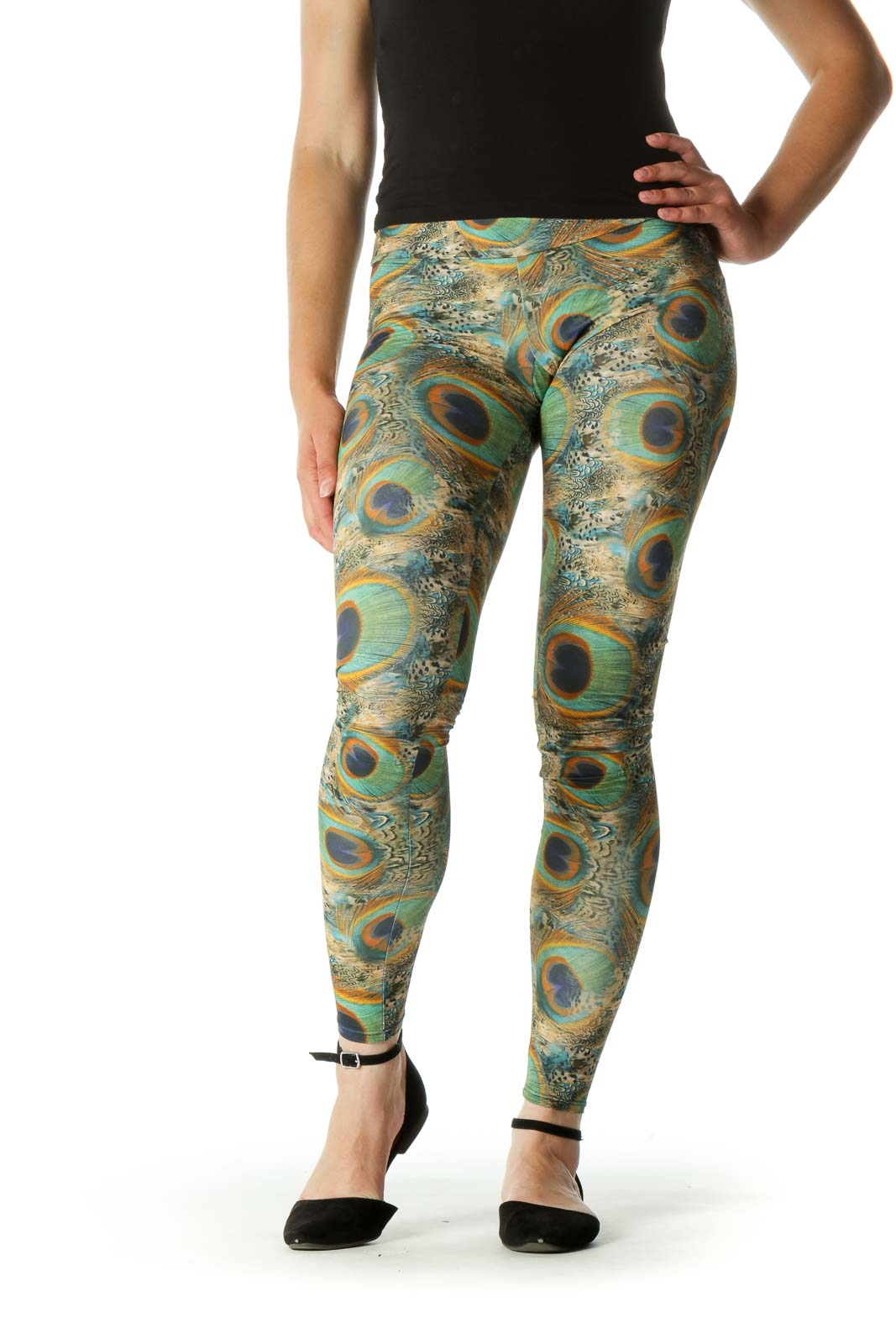 Green Blue Orange Peacock Feathers Print Active Pants Front