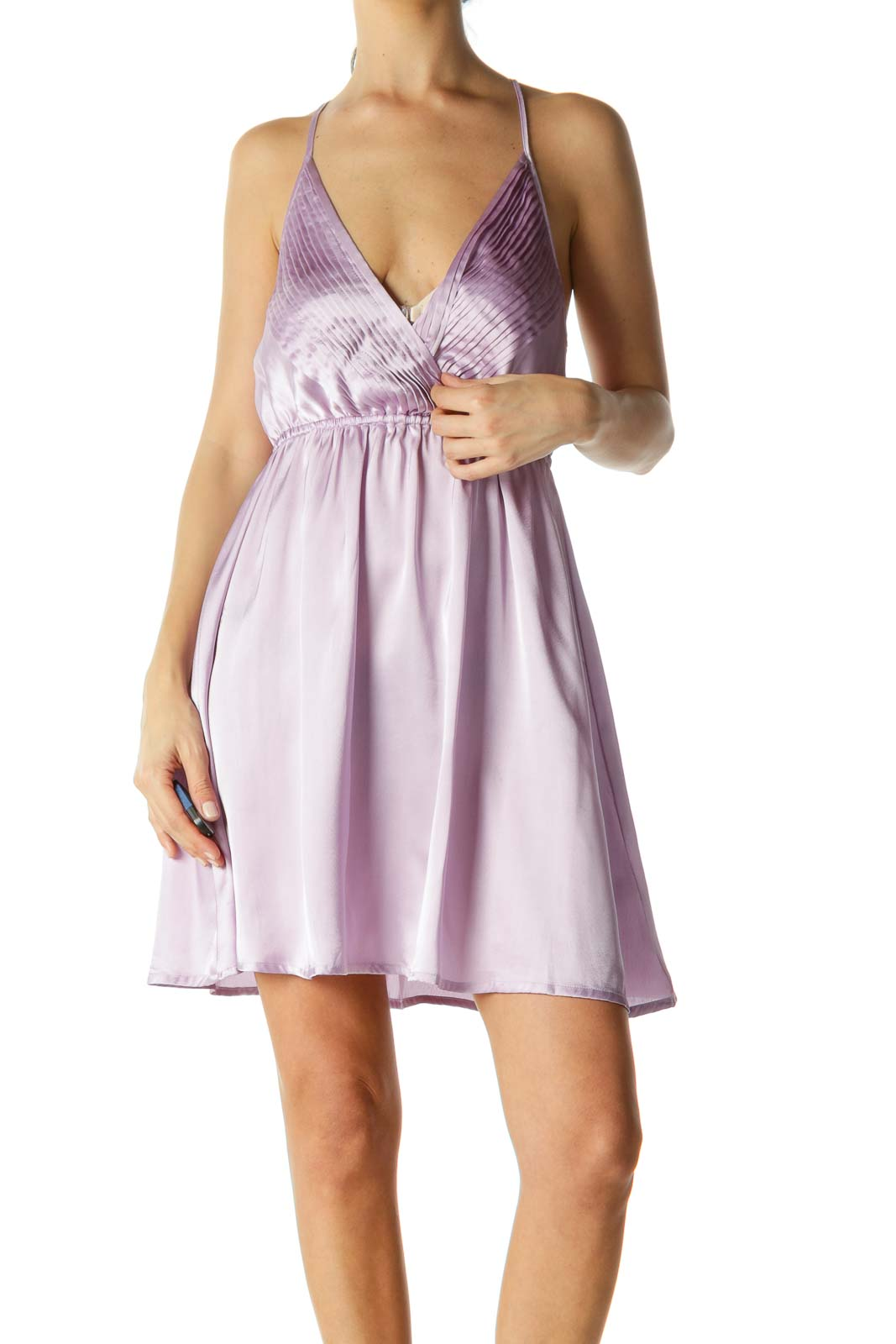 Lilac Cinched Open-Back Dress Front