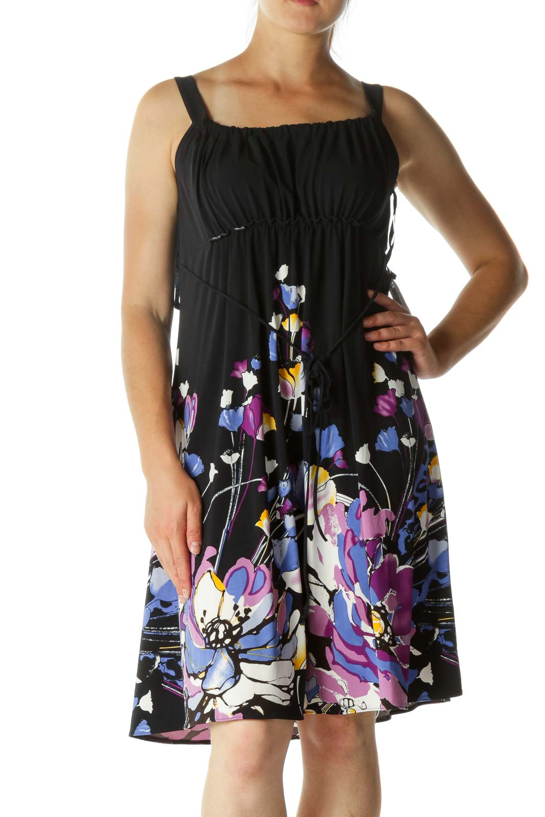 Multicolored Round Neck Scrunched Floral Print Stretch Cocktail Dress Front