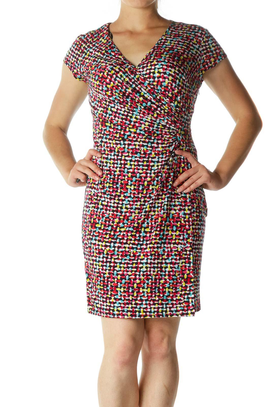 Multicolor Short Sleeve Mock Wrap Day Dress Front