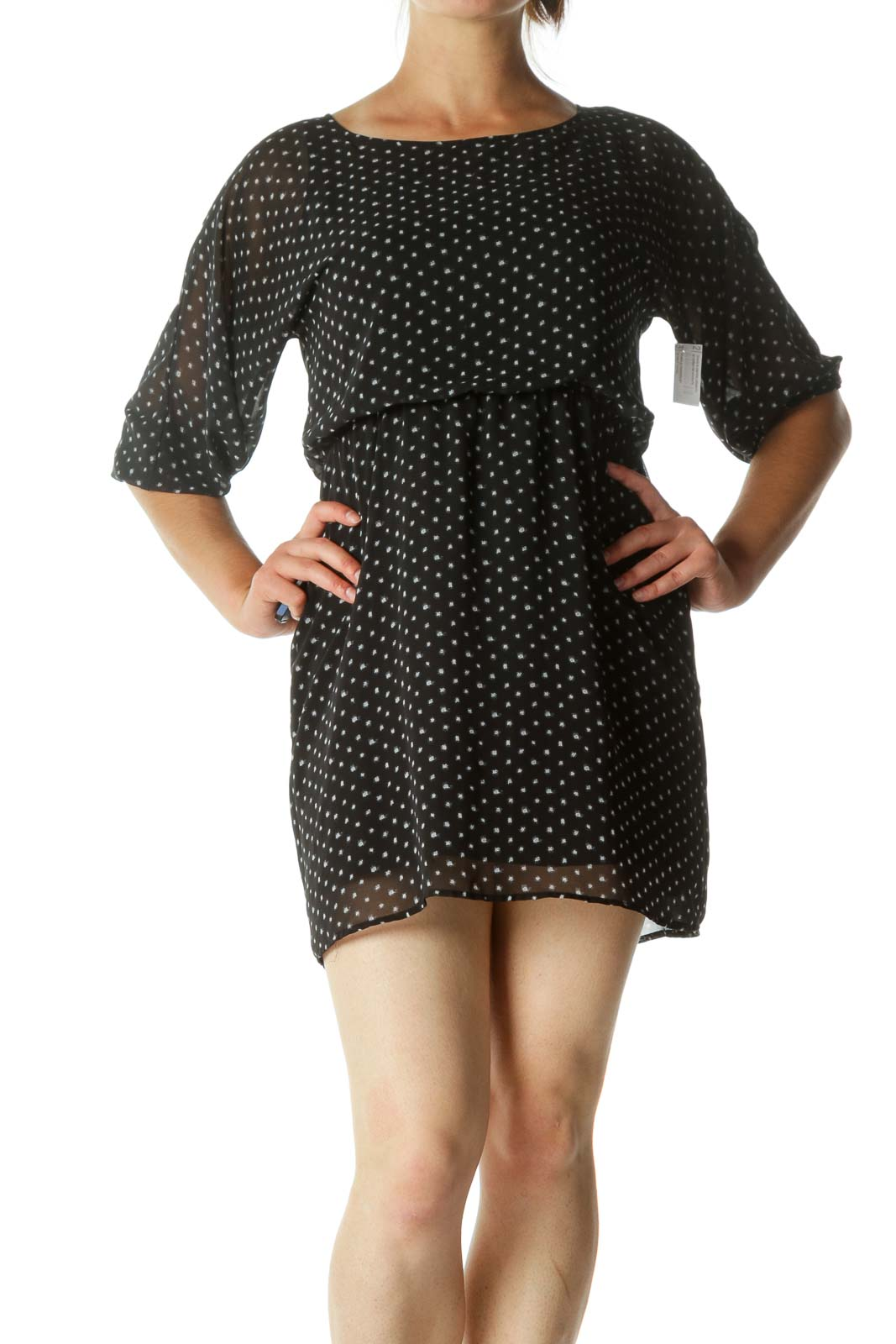 Black and White Polka-Dot Single Button Day Dress Front