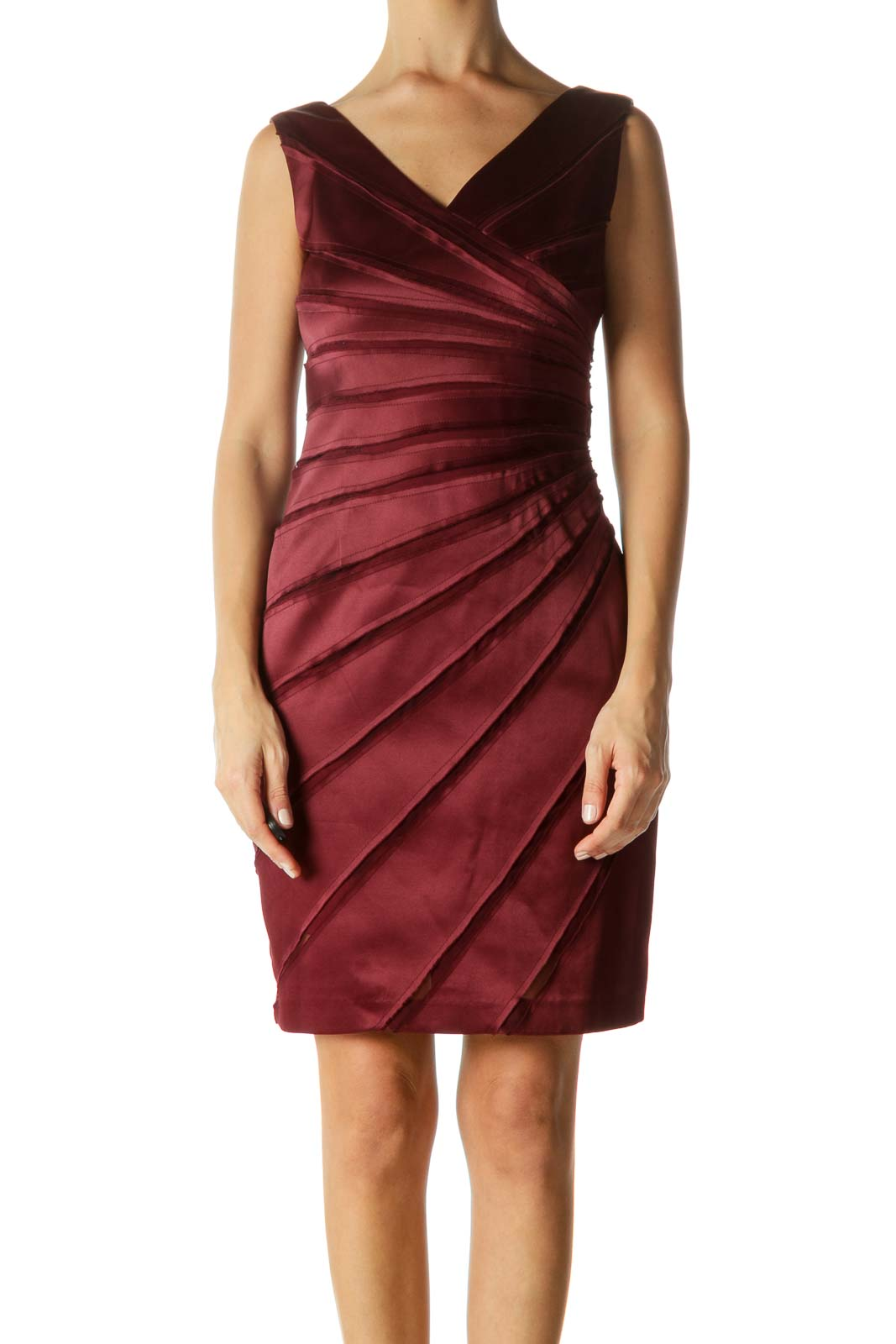 Burgundy Sheer & Seam Fitted Dress Front