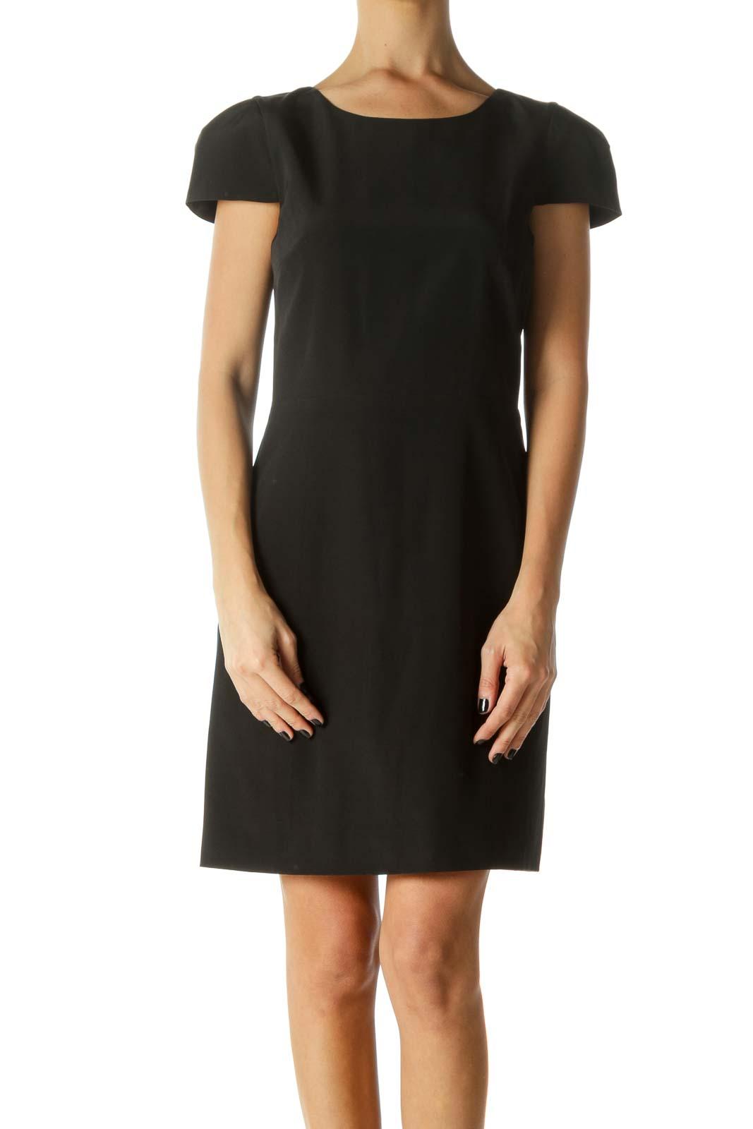 Black 100% Silk Open Back Sheath Dress Front