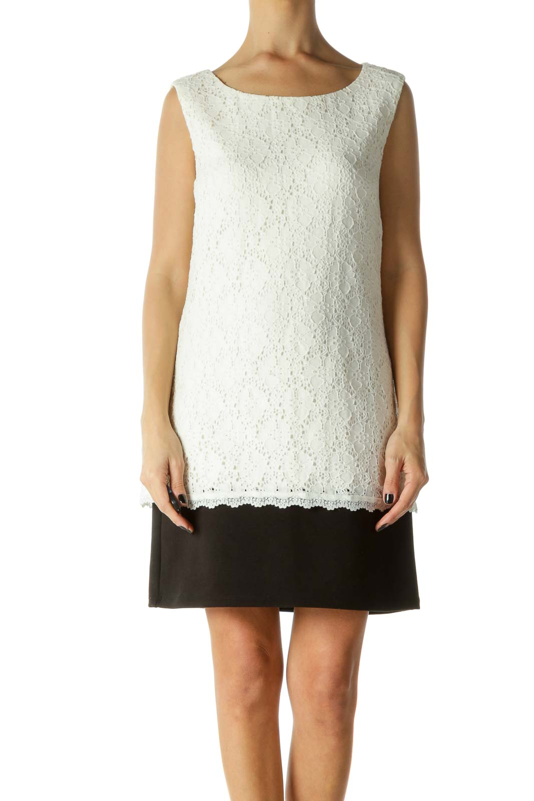 Black & White Color Block Lace Day Dress Front