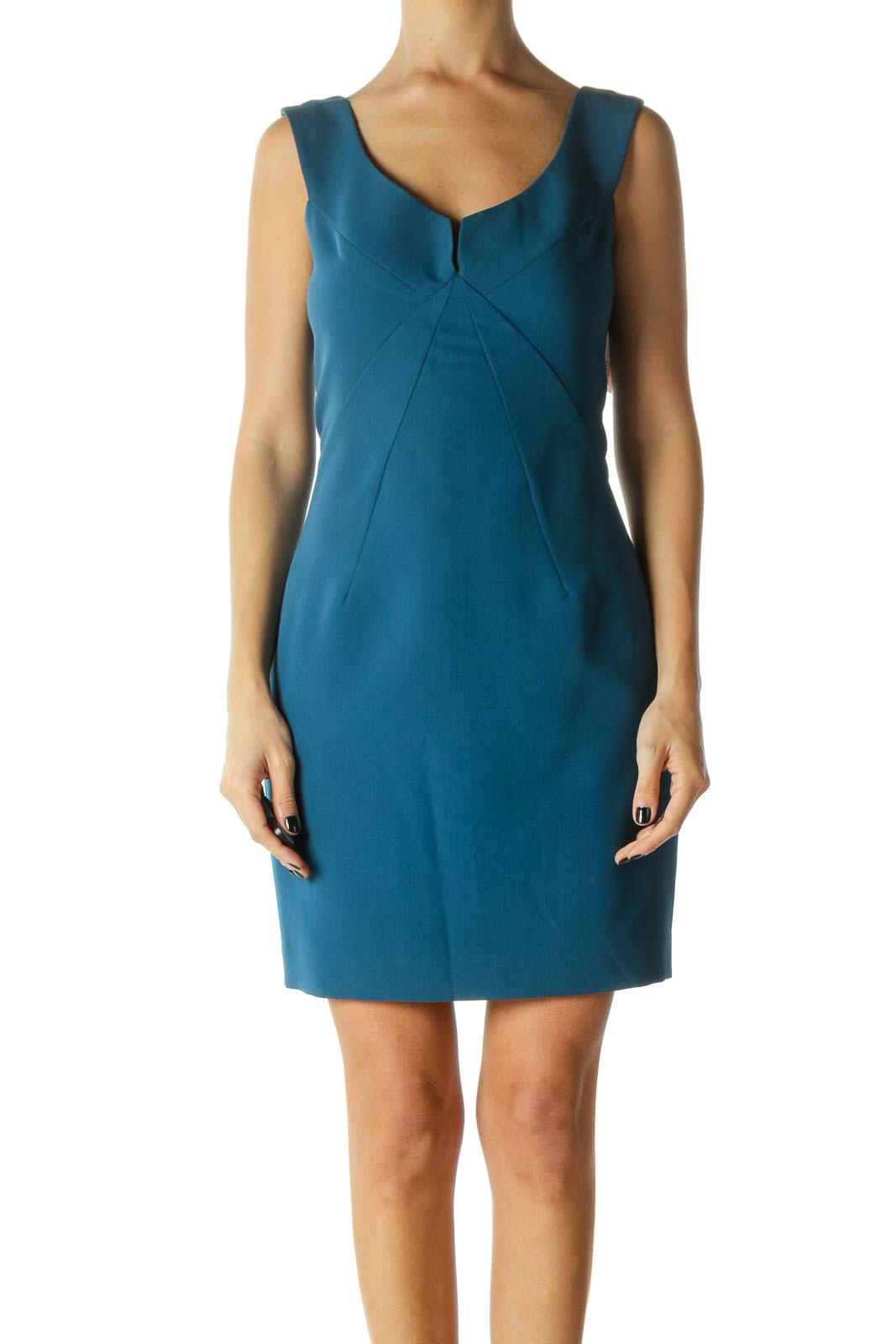 Blue Zippered Lined Sleeveless Cocktail Dress Front