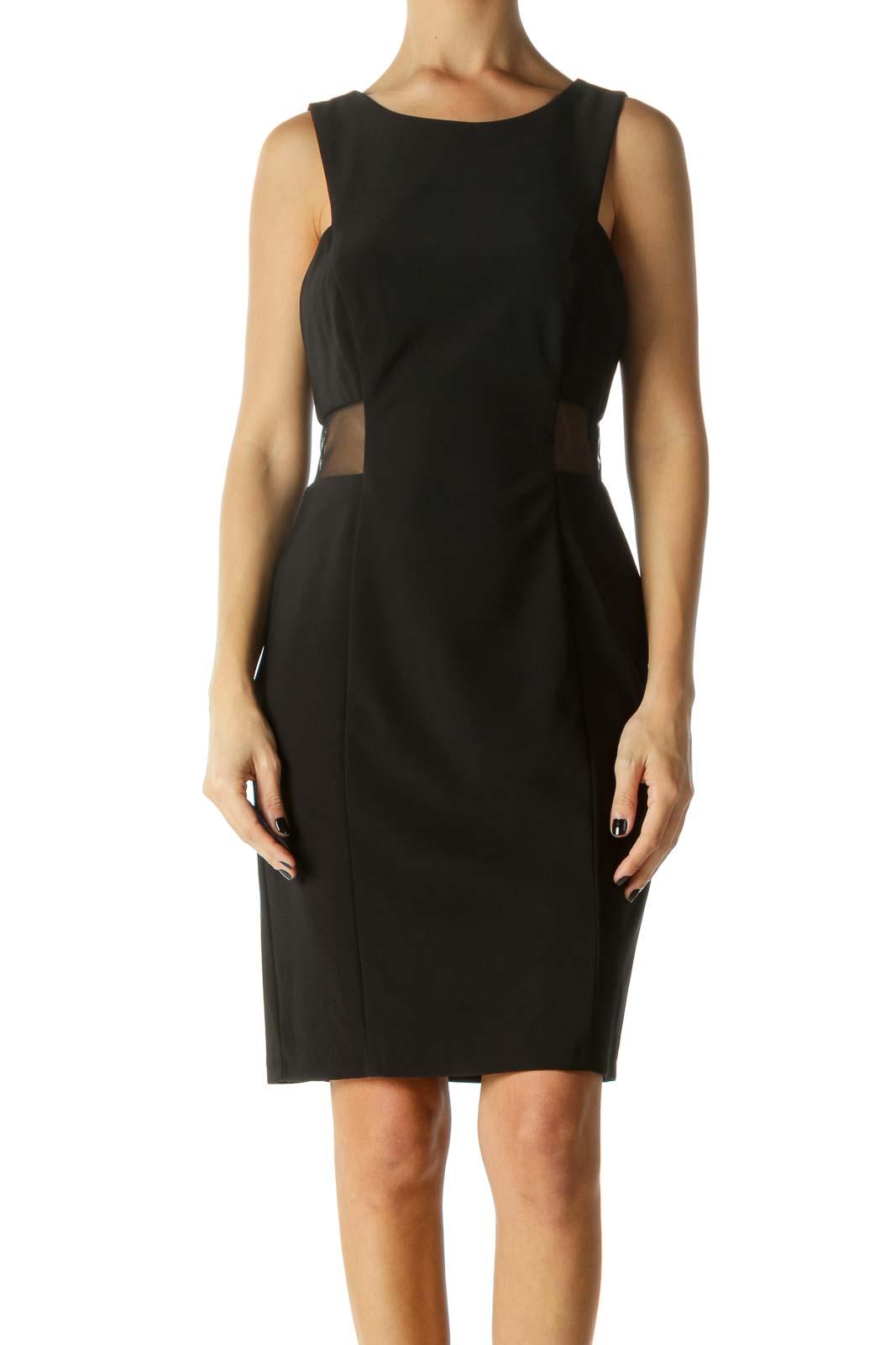 Black Mesh Ruffled Sleeveless Cocktail Dress Front