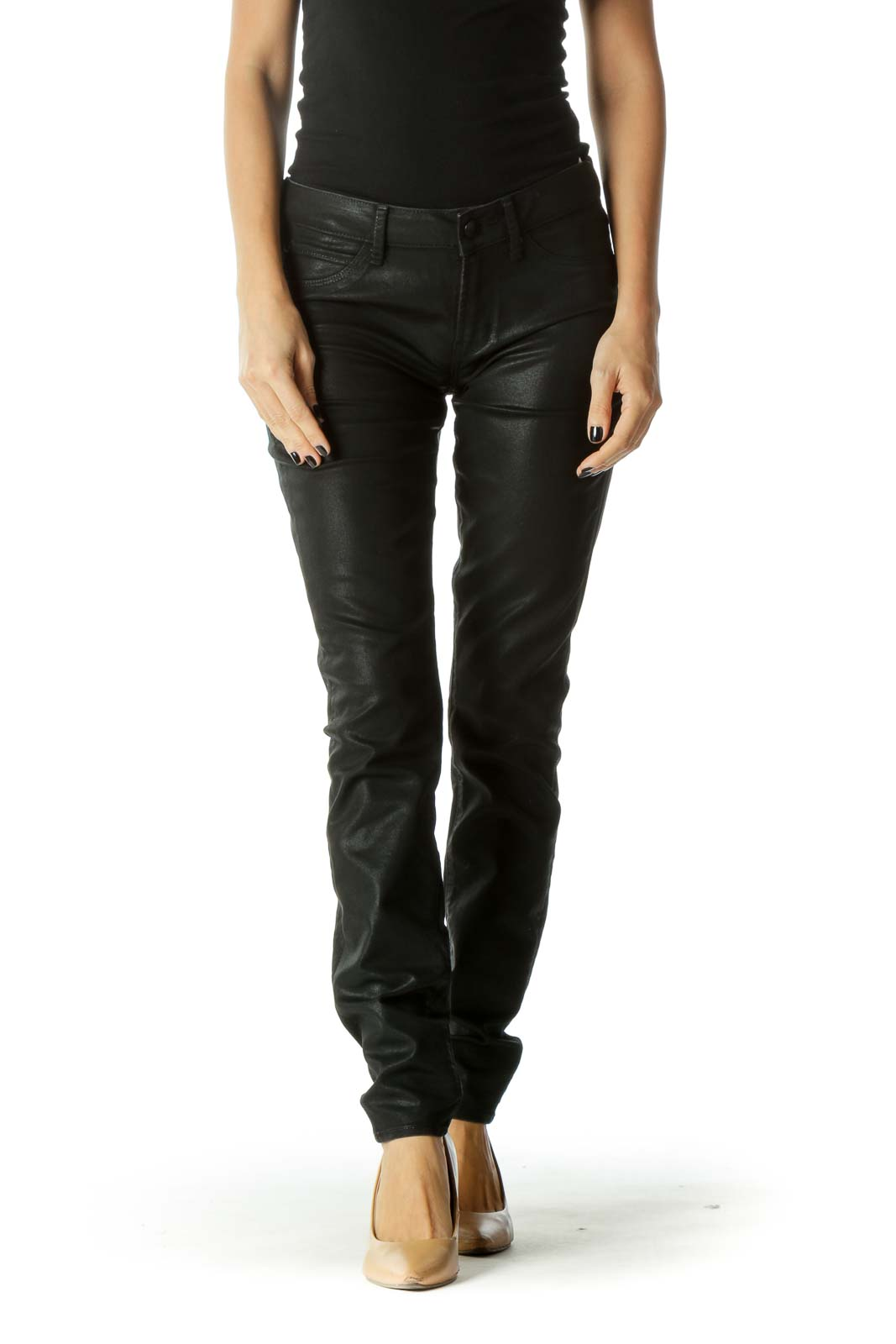 Black Metallic Pocketed Skinny Jeans Front