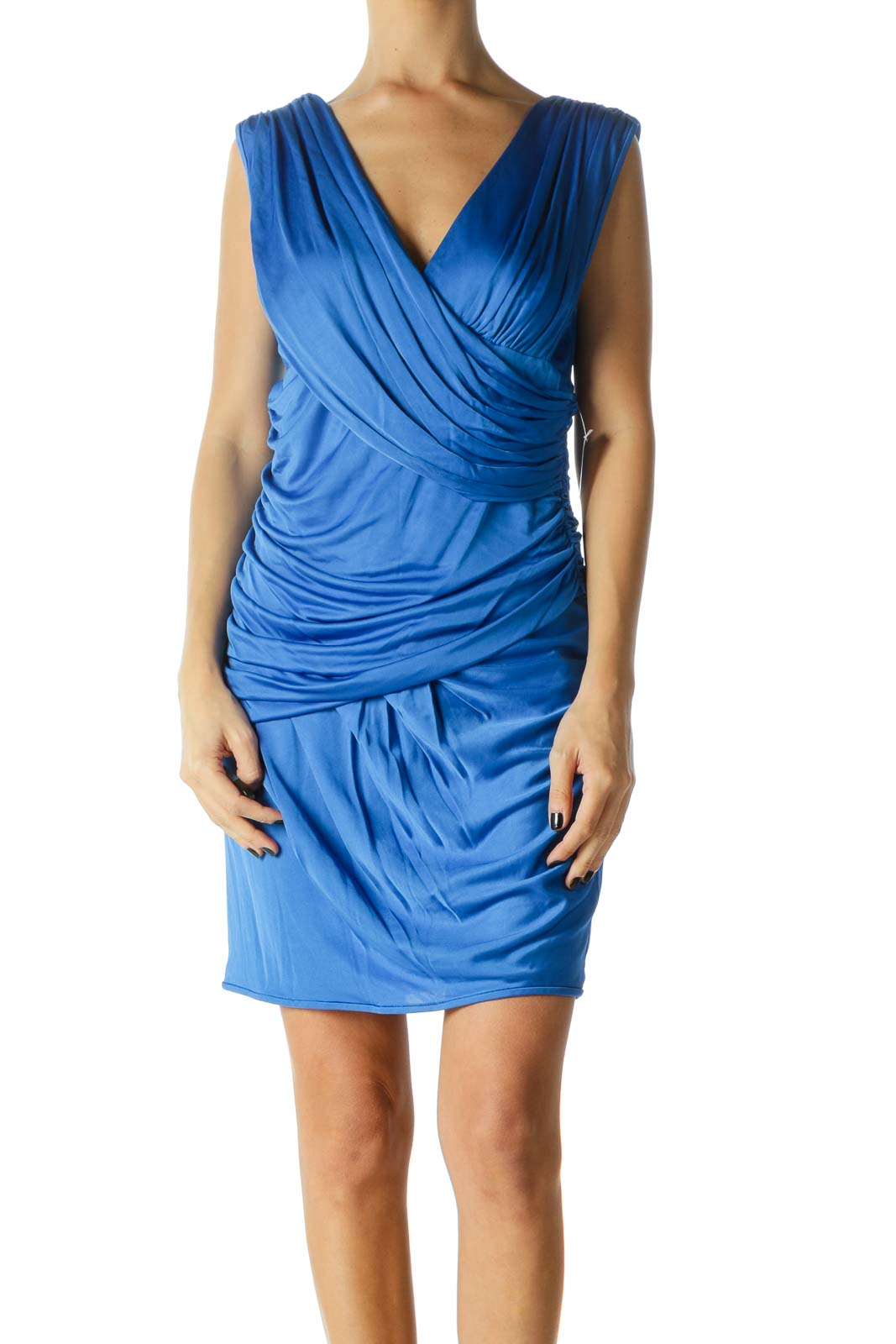 Blue Deep-V Neck Pleated Cocktail Dress Front