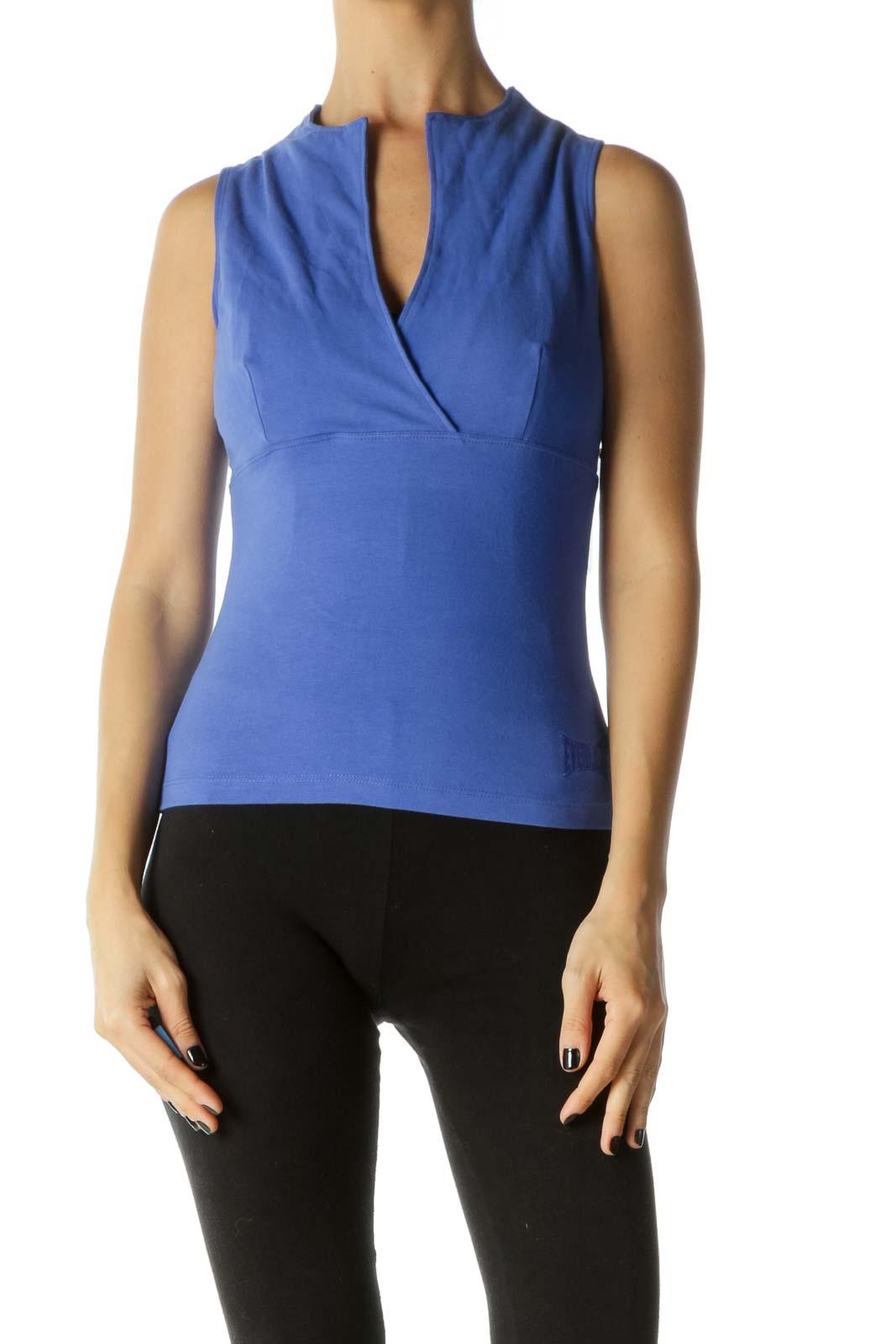 Blue V-neck Sleeveless Yoga Top Front